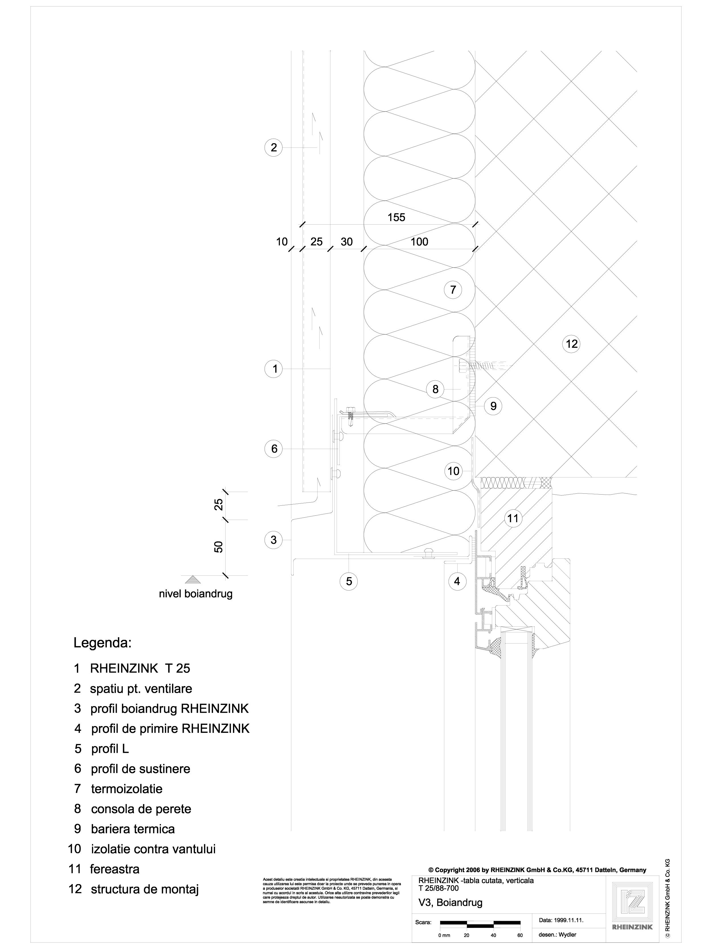 Pagina 1 - CAD-DWG Tabla cutata - V3 Boiandrug cu lacrimar in planul peretelui RHEINZINK Detaliu de ...