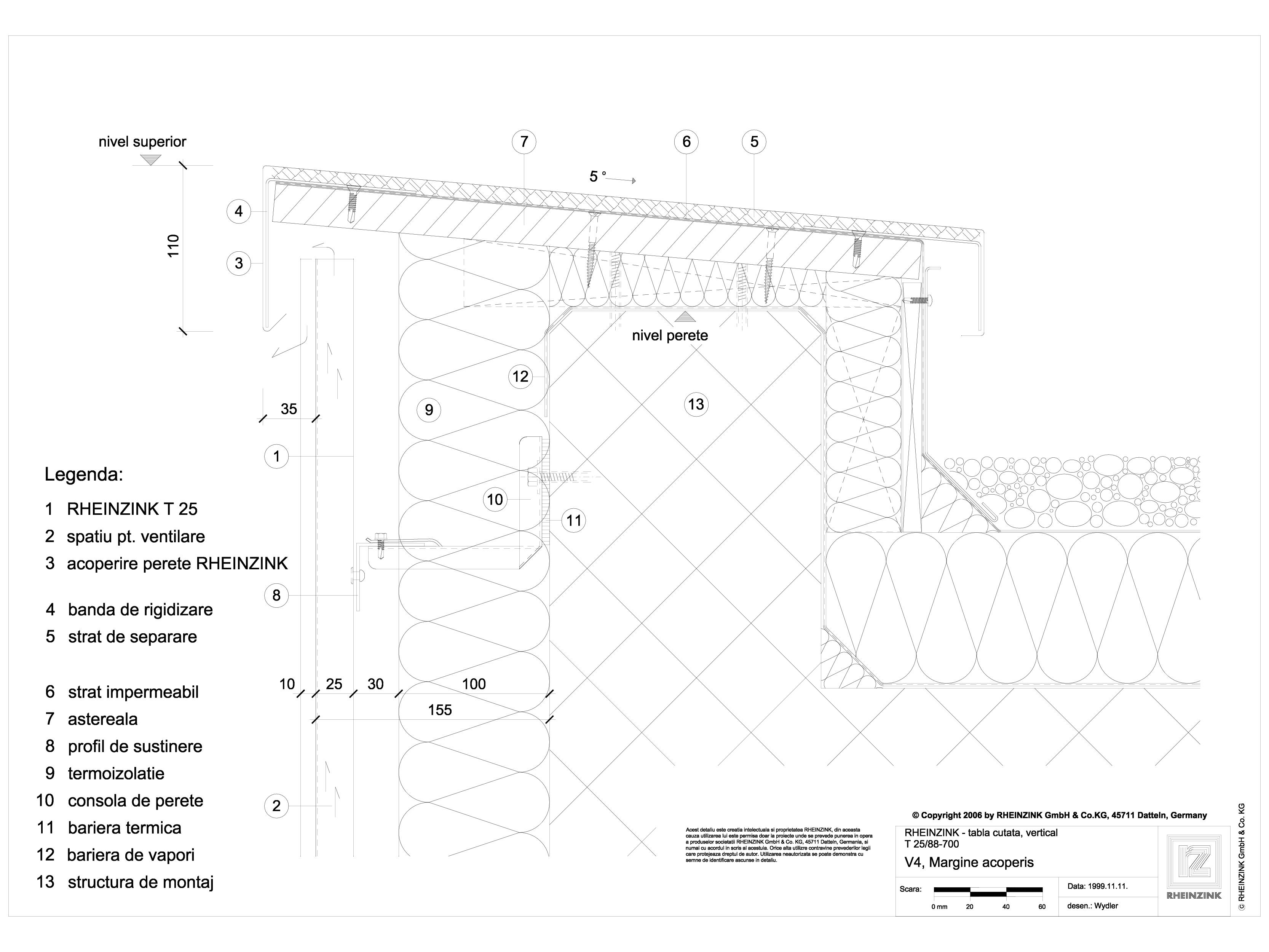 Pagina 1 - CAD-DWG Tabla cutata - V4 Rebord perete iesit din planul peretelui, 1 element RHEINZINK...