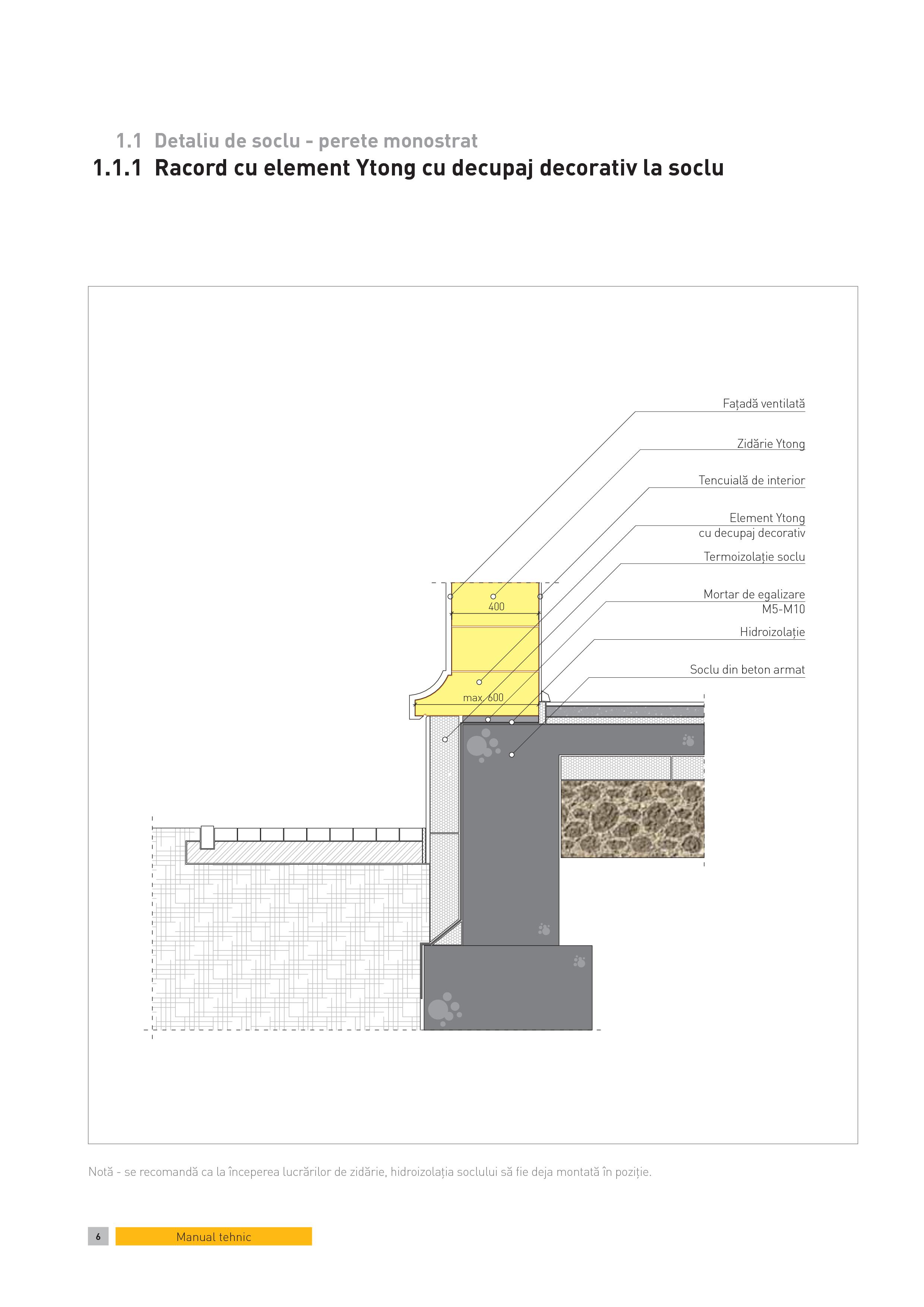 Pagina 1 - CAD-PDF Detaliu de soclu - perete monostrat. Racord cu element Ytong cu decupaj decorativ...
