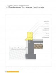 Detaliu de soclu - perete monostrat. Racord cu element Ytong cu decupaj decorativ la soclu