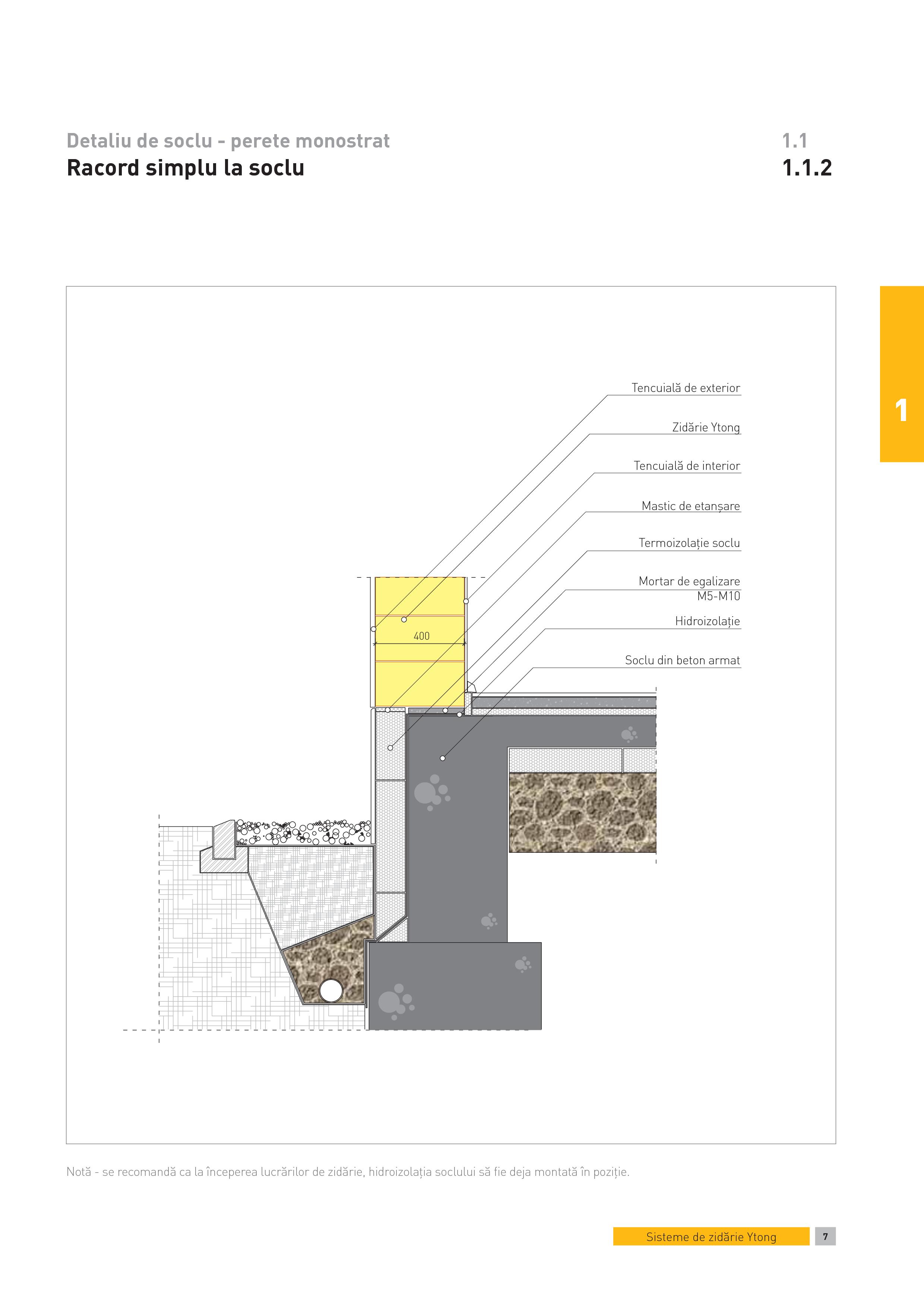 Pagina 1 - CAD-PDF Detaliu de soclu - perete monostrat. Racord simplu la soclu YTONG Detaliu de...