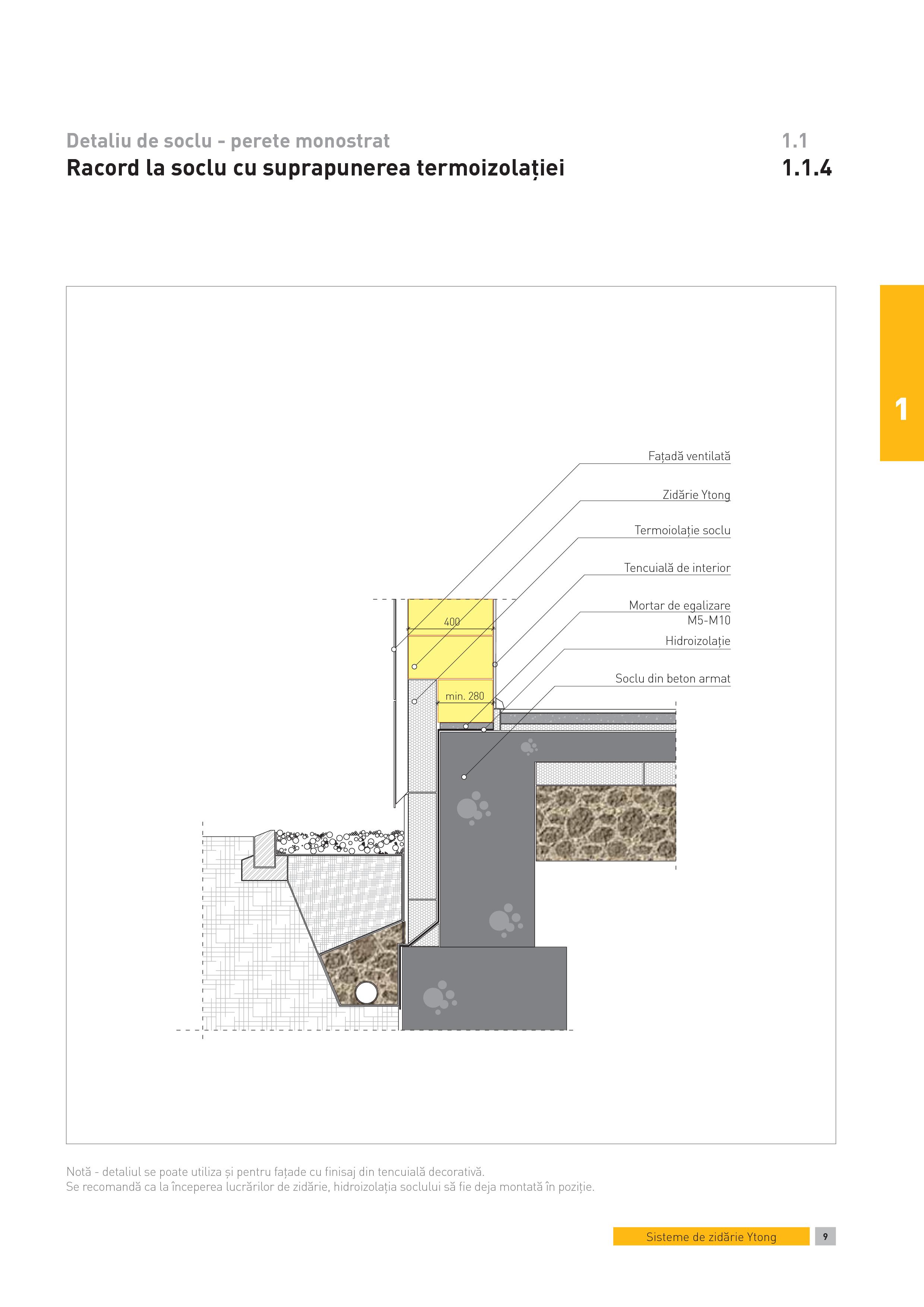 Pagina 1 - CAD-PDF Detaliu de soclu - perete monostrat. Racord la soclu cu suprapunerea...