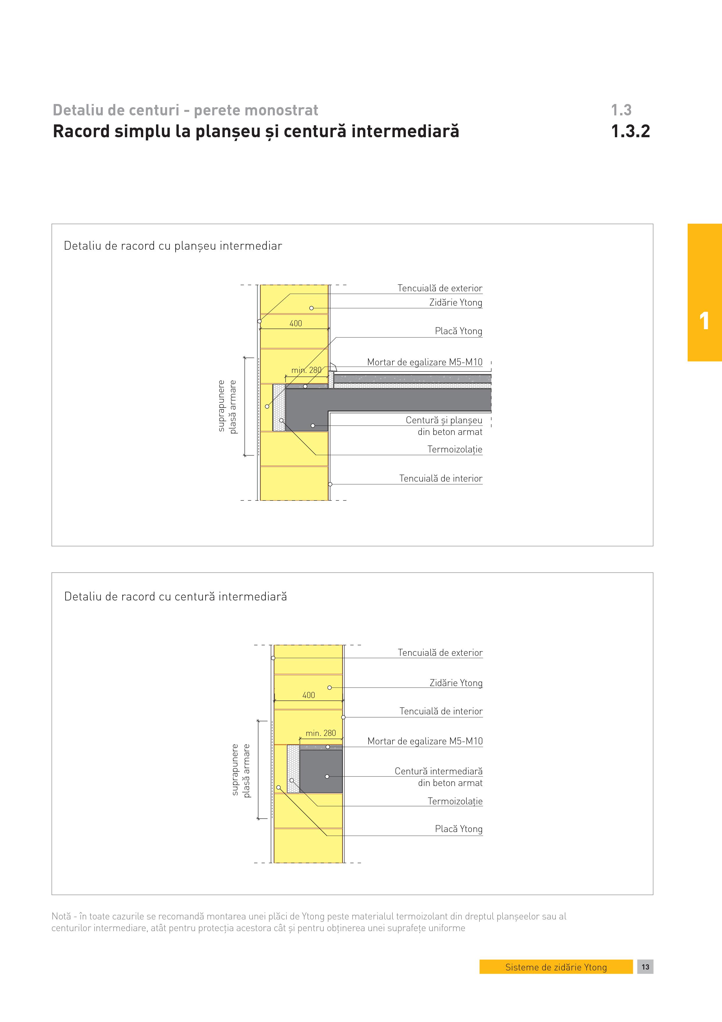 Pagina 1 - CAD-PDF Detaliu de centuri - perete monostrat. Racord simplu la planseu si centura...