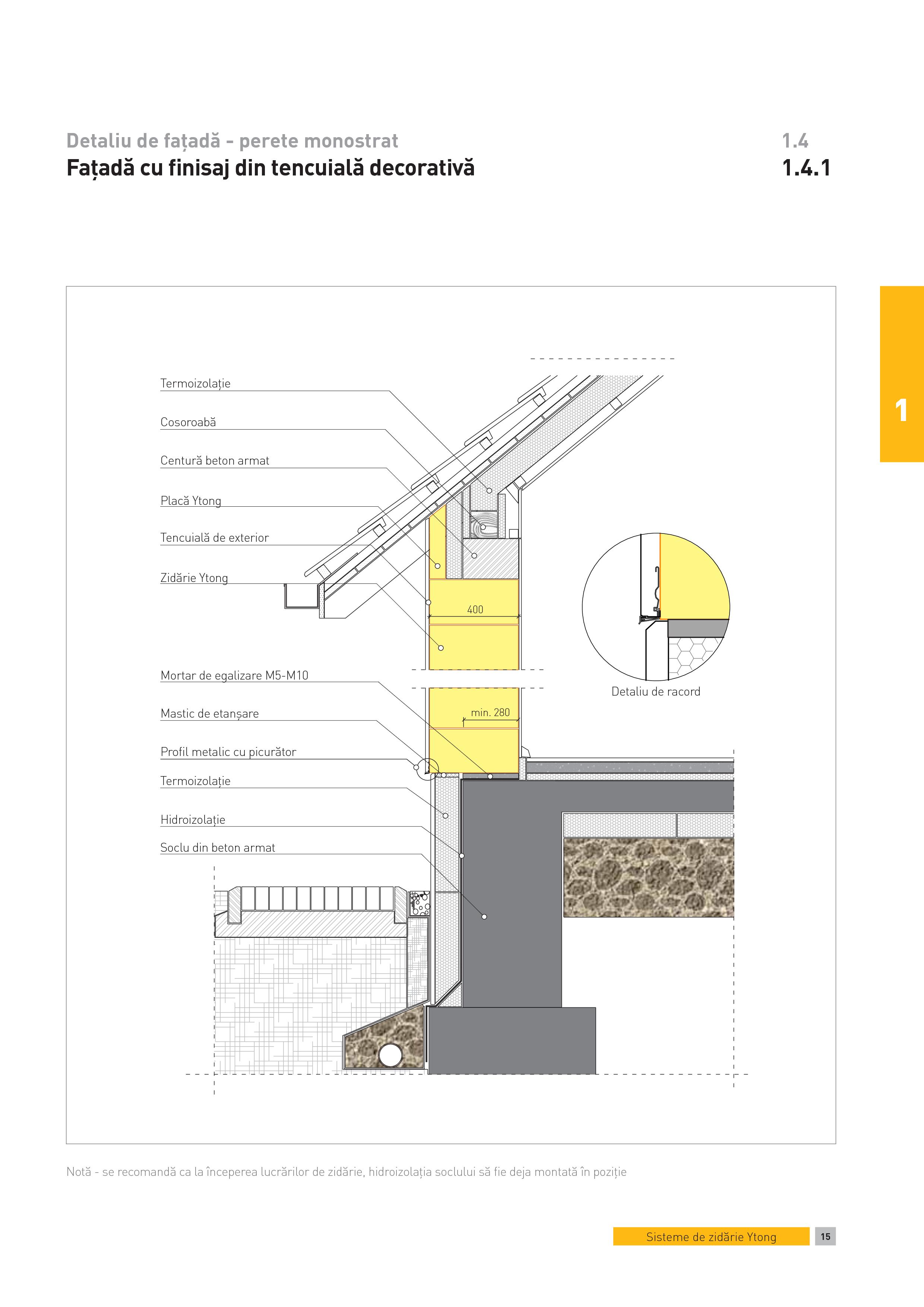 Pagina 1 - CAD-PDF Detaliu de fatada - perete monostrat. Fatada cu finisaj din tencuială decorativa...