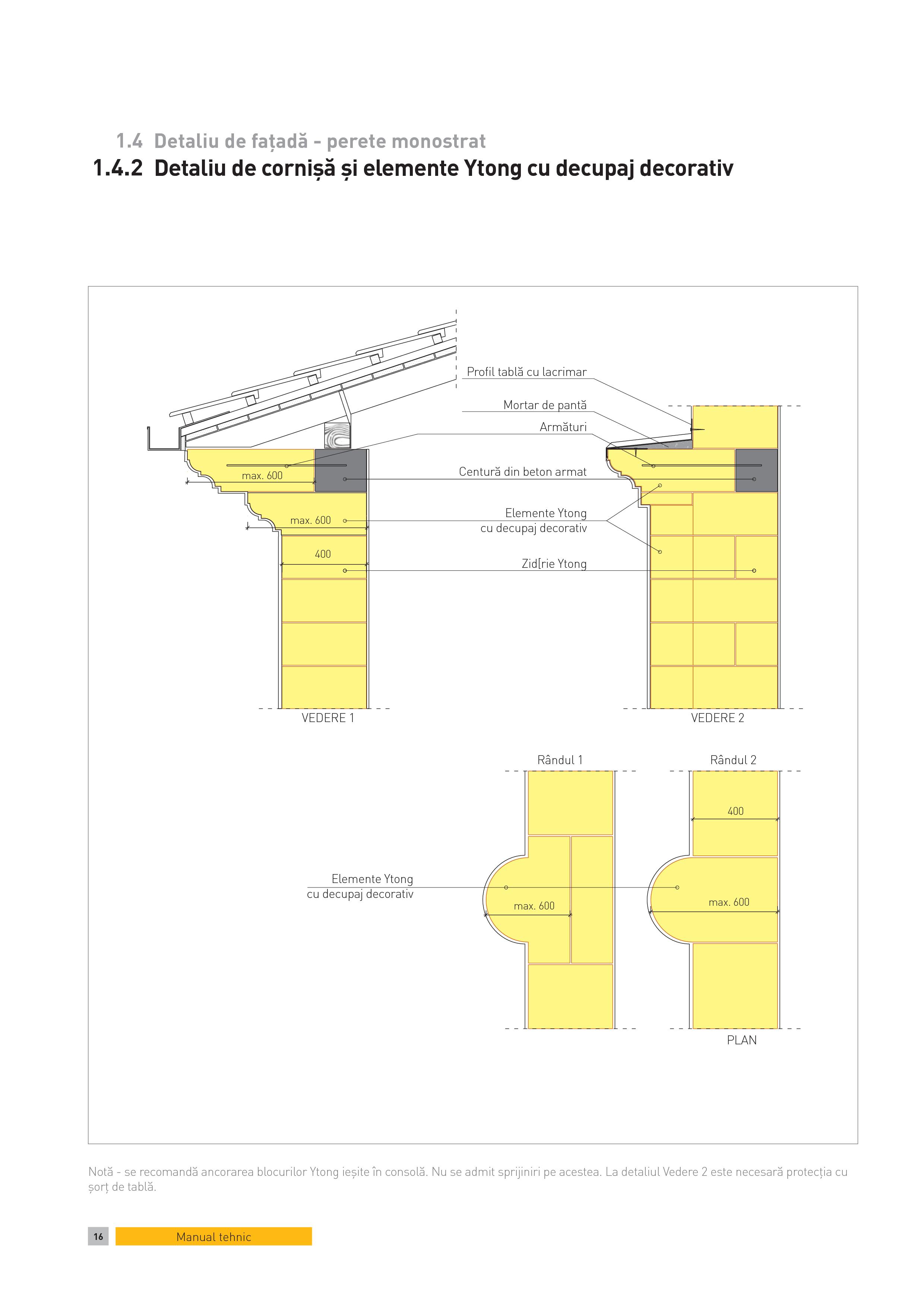 Pagina 1 - CAD-PDF Detaliu de fatada - perete monostrat. Detaliu de cornisa si elemente Ytong cu...
