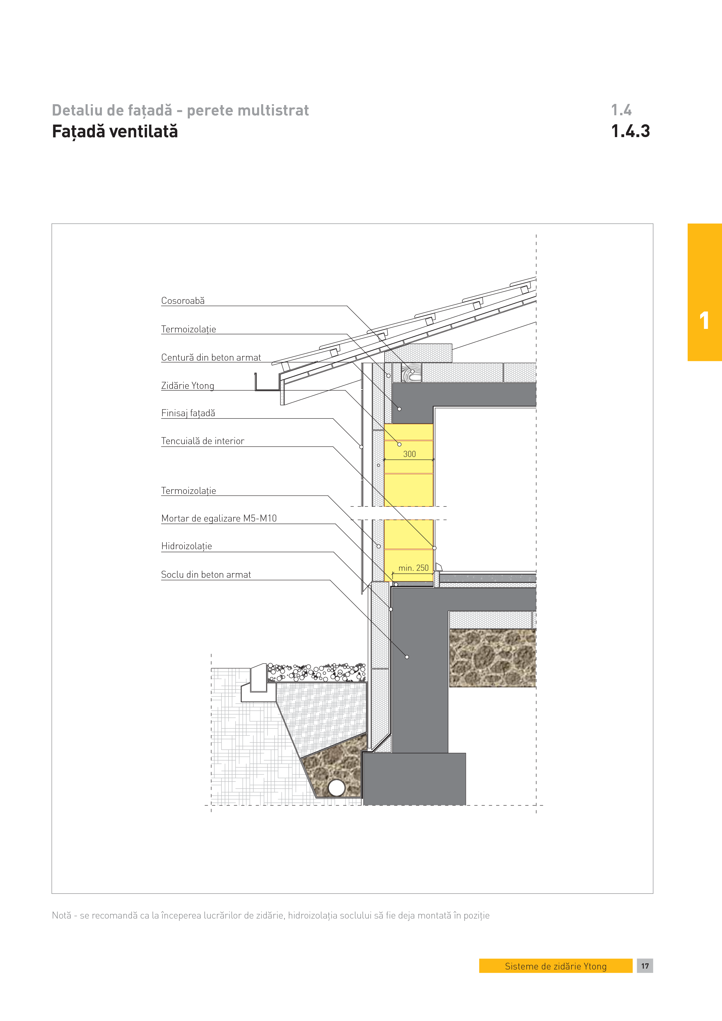 Pagina 1 - CAD-PDF Detaliu de fatada - perete multistrat. Fatada ventilata YTONG Detaliu de montaj...