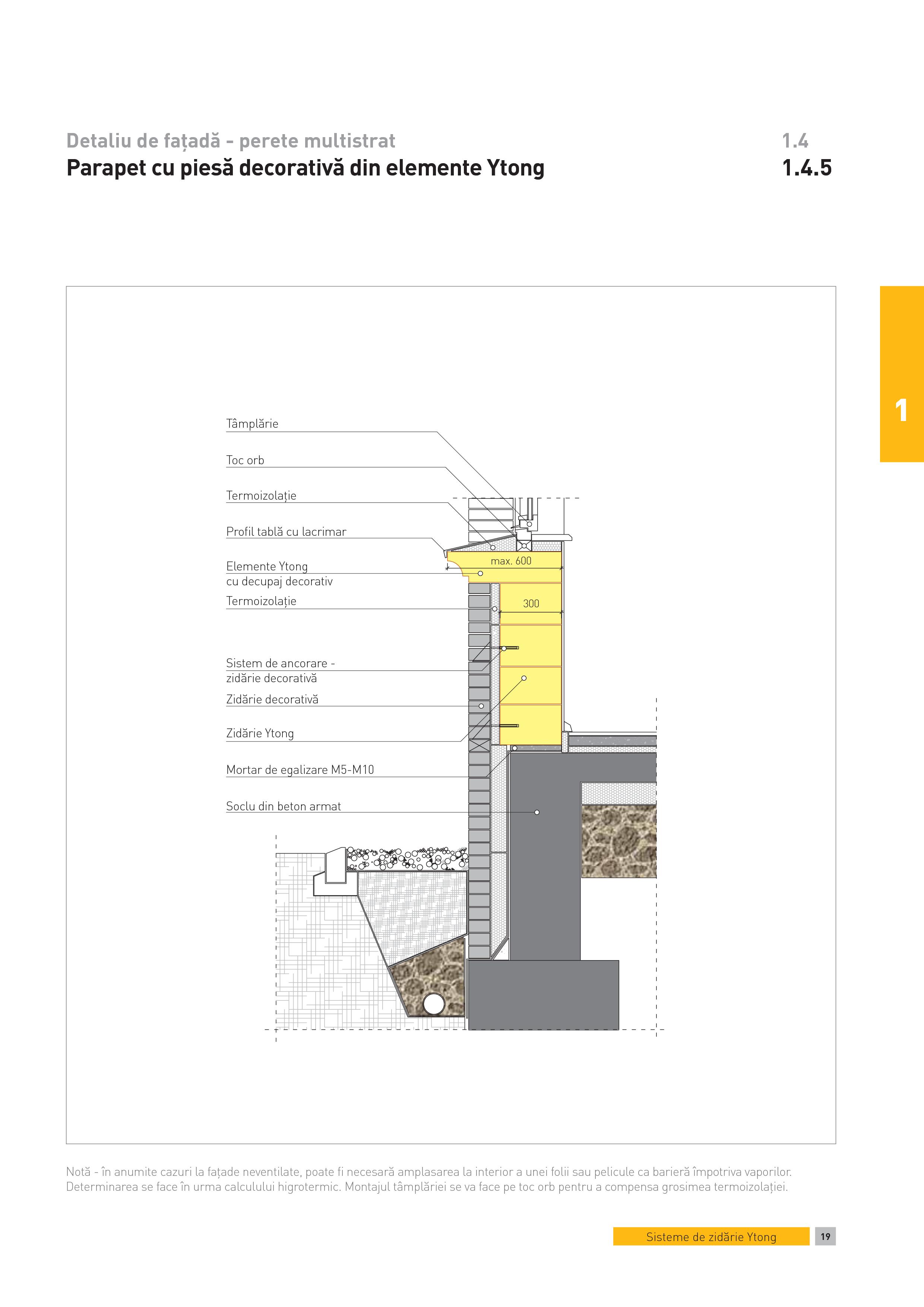 Pagina 1 - CAD-PDF Detaliu de fatada - perete multistrat. Parapet cu piesa decorativa din elemente...