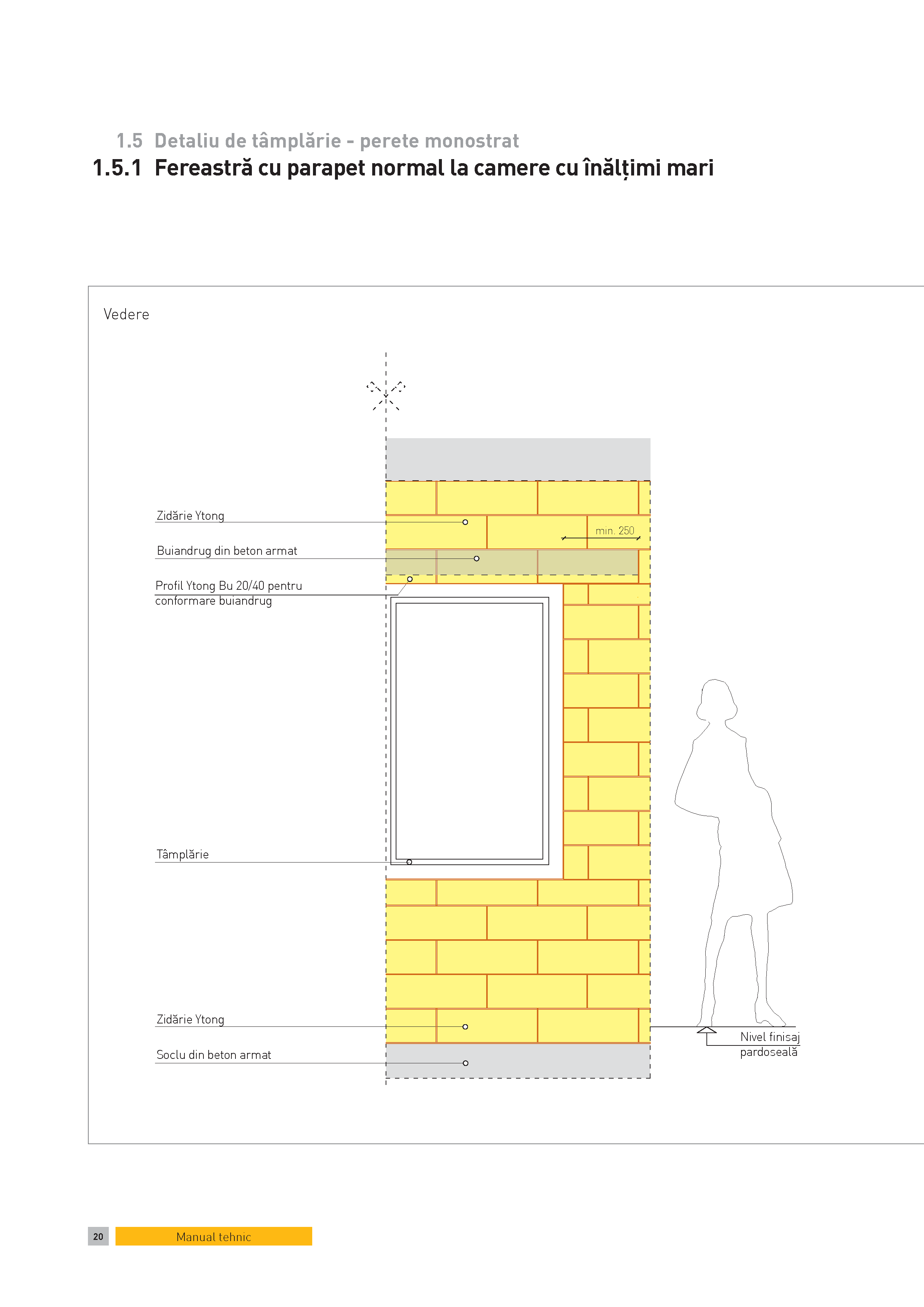 Pagina 1 - CAD-PDF Detaliu de tamplarie - perete monostrat. Fereastra cu parapet normal la camere cu...