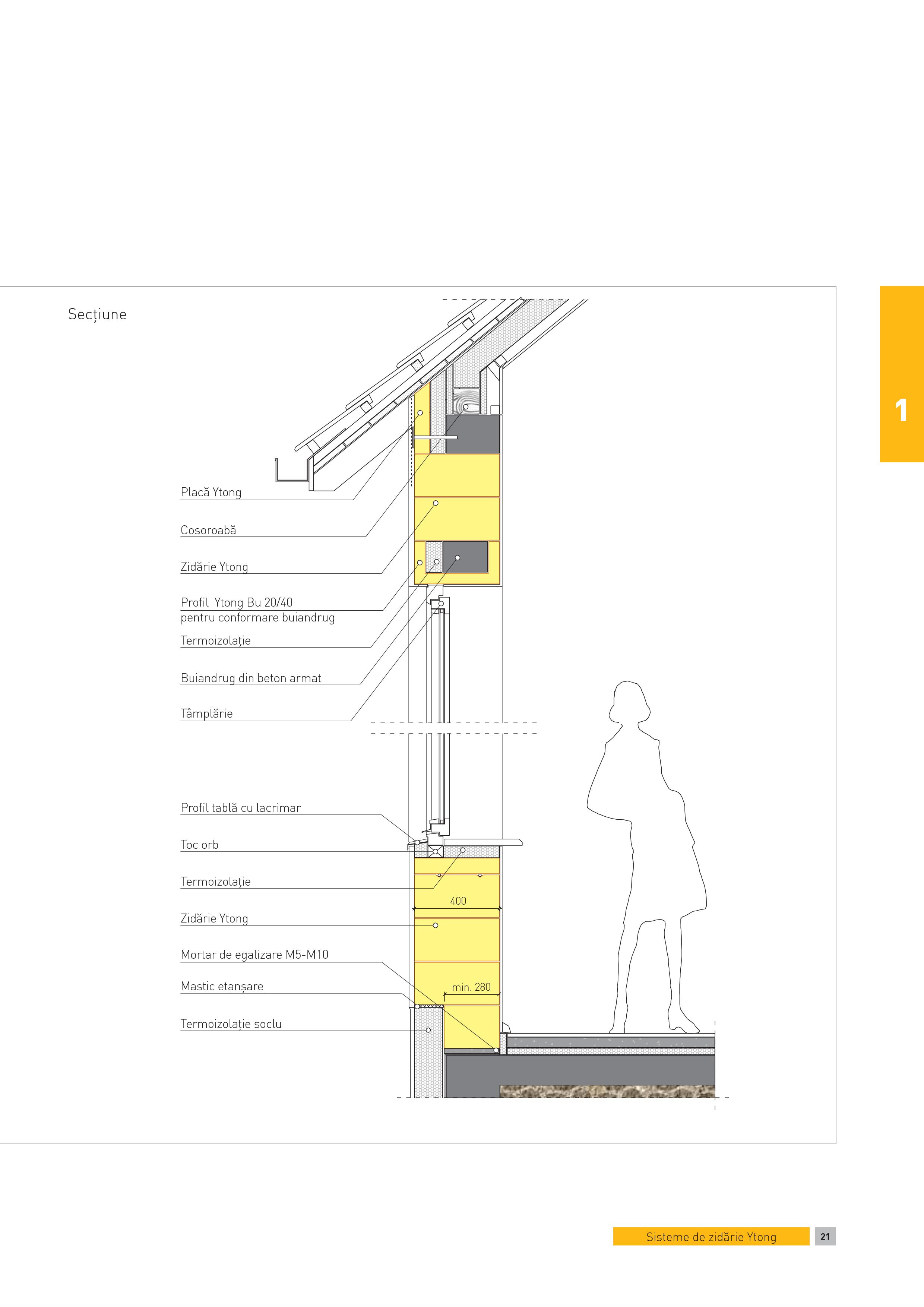 Pagina 1 - CAD-PDF Sectiune - perete monostrat. Fereastra cu parapet normal la camere cu inaltimi...