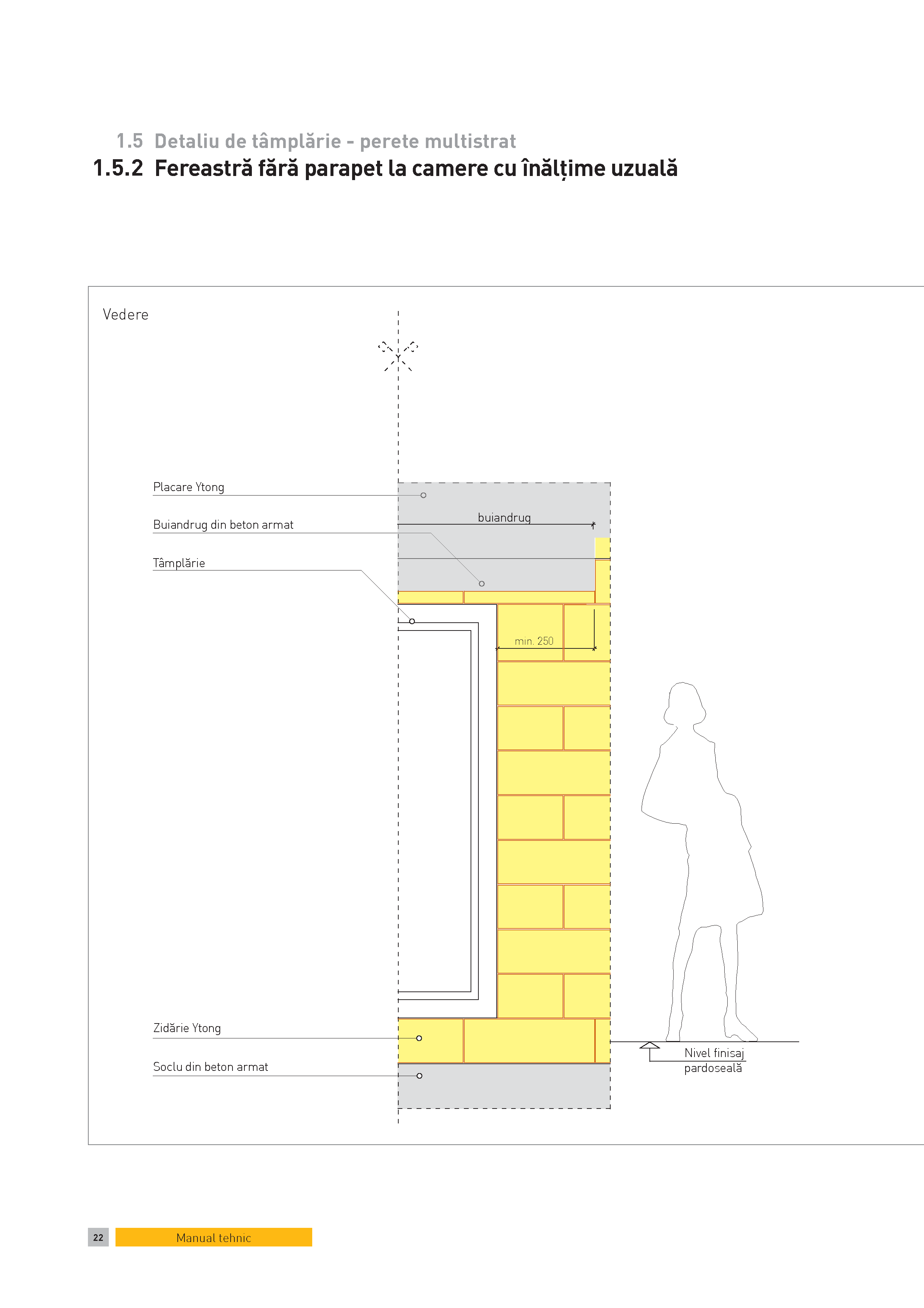 Pagina 1 - CAD-PDF Detaliu de tamplarie - perete multistrat. Fereastra fara parapet la camere cu...