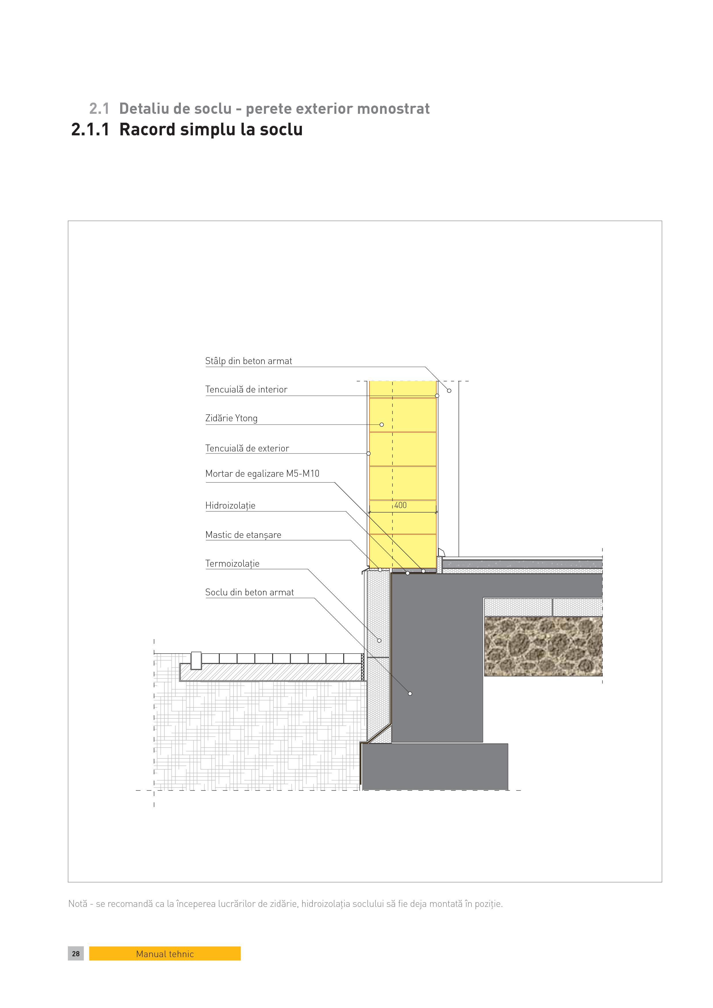 Pagina 1 - CAD-PDF Detaliu de soclu - perete exterior monostrat. Racord simplu la soclu YTONG...