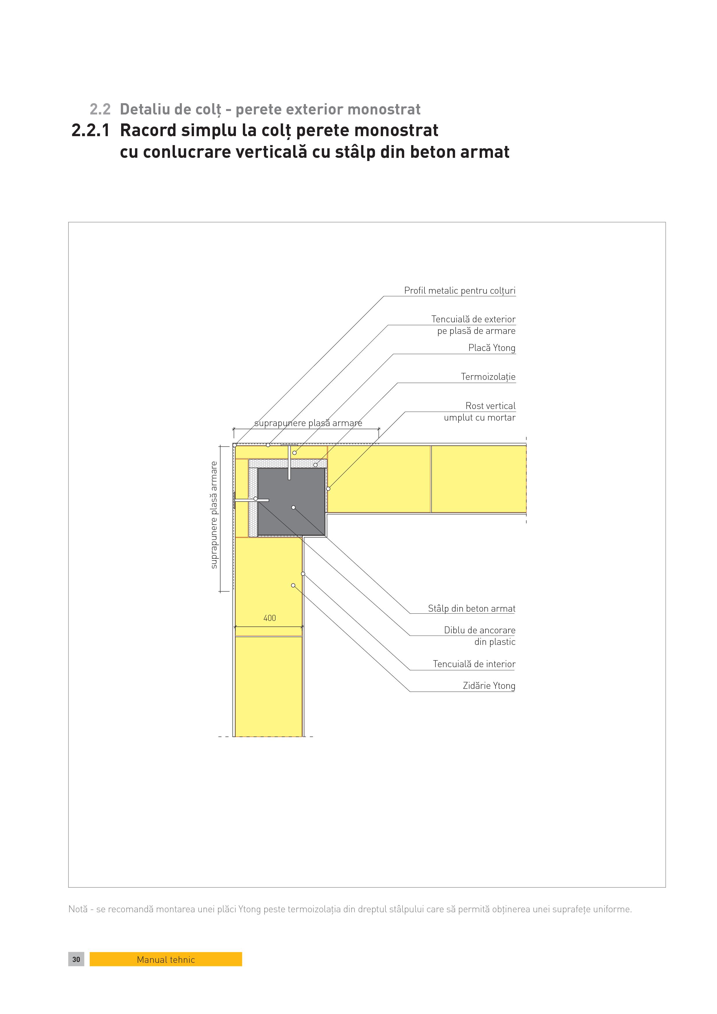 Pagina 1 - CAD-PDF Detaliu de colt - perete exterior monostrat. Racord simplu la colt perete...