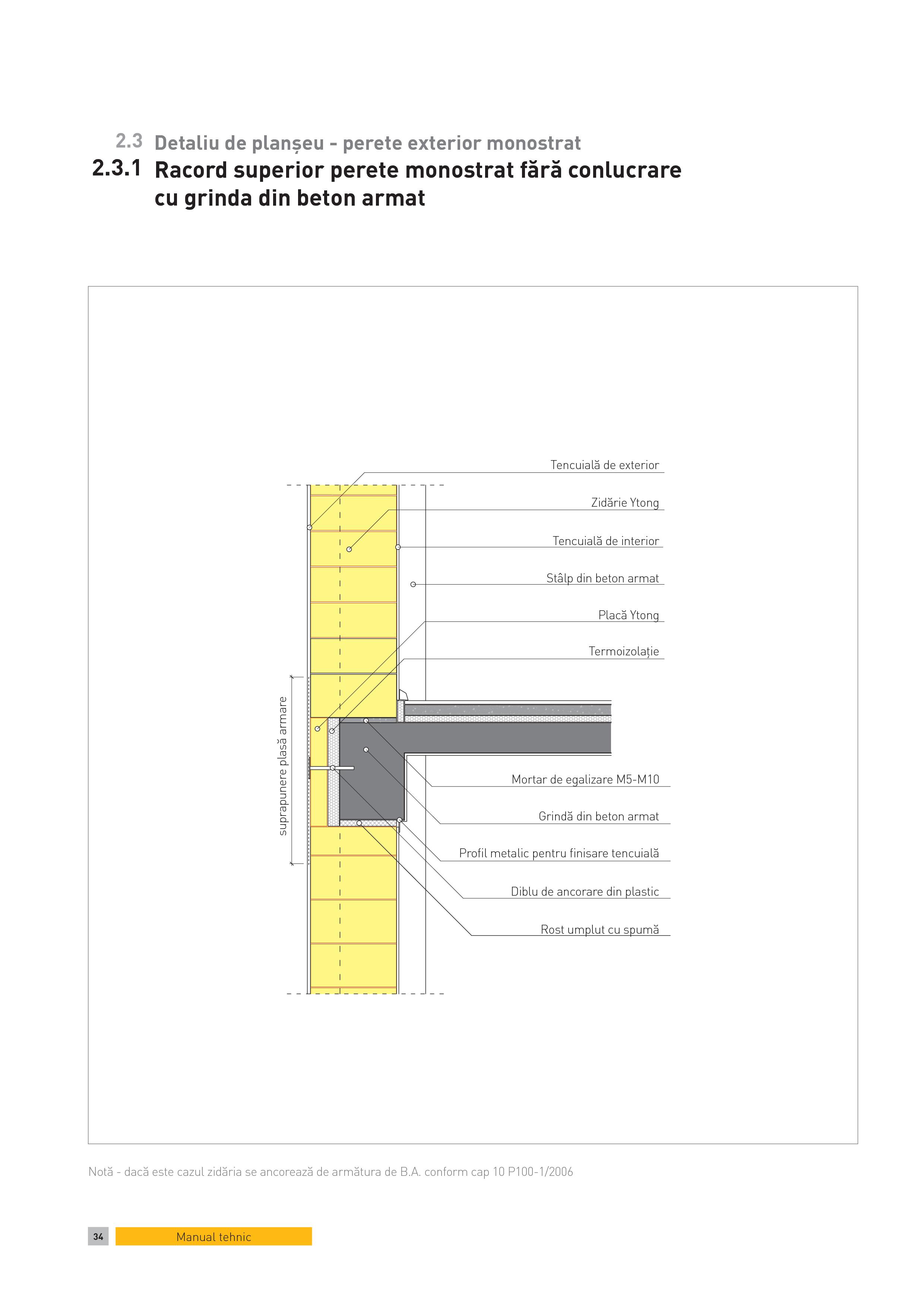 Pagina 1 - CAD-PDF Detaliu de planseu - perete exterior monostrat. Racord superior perete monostrat ...
