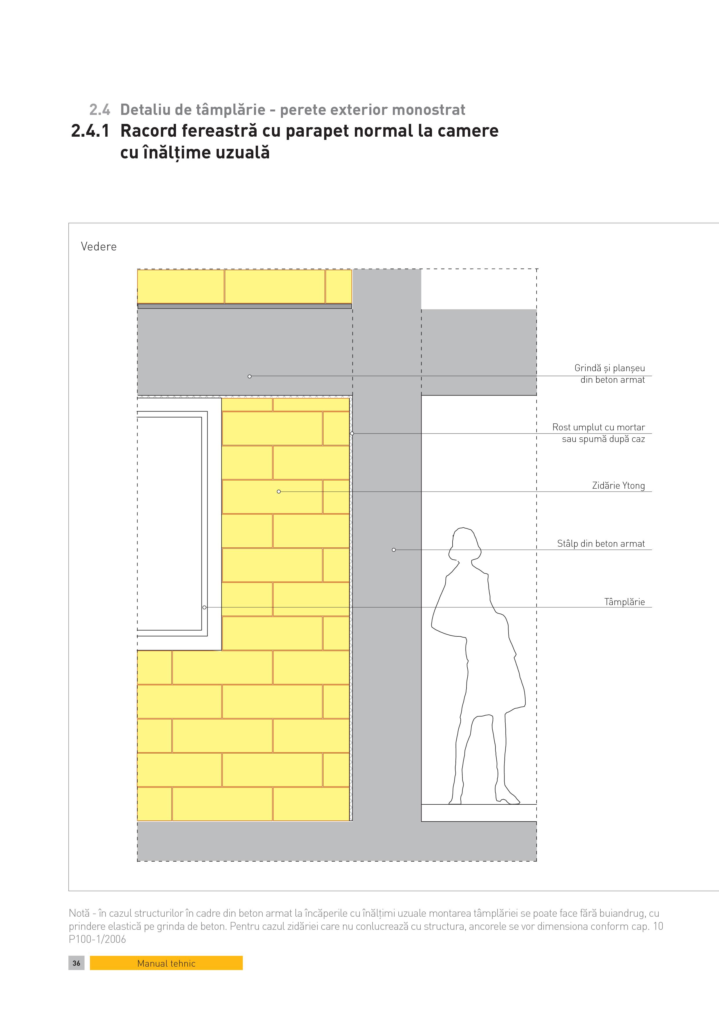 Pagina 1 - CAD-PDF Detaliu de tamplarie - perete exterior monostrat. Racord fereastra cu parapet...