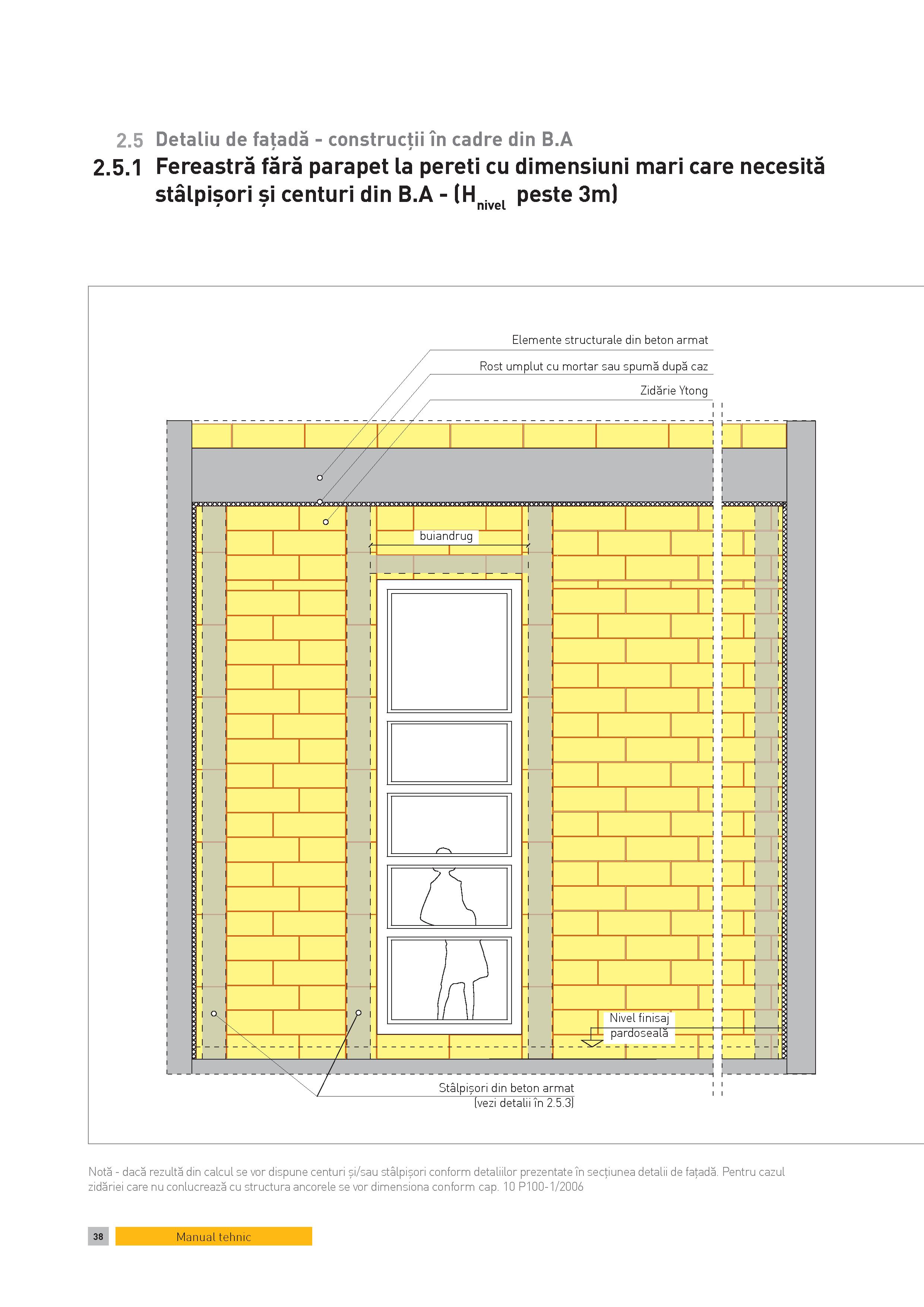 Pagina 1 - CAD-PDF Detaliu de fatada - constructii in cadre din B.A. Fereastra fara parapet la...
