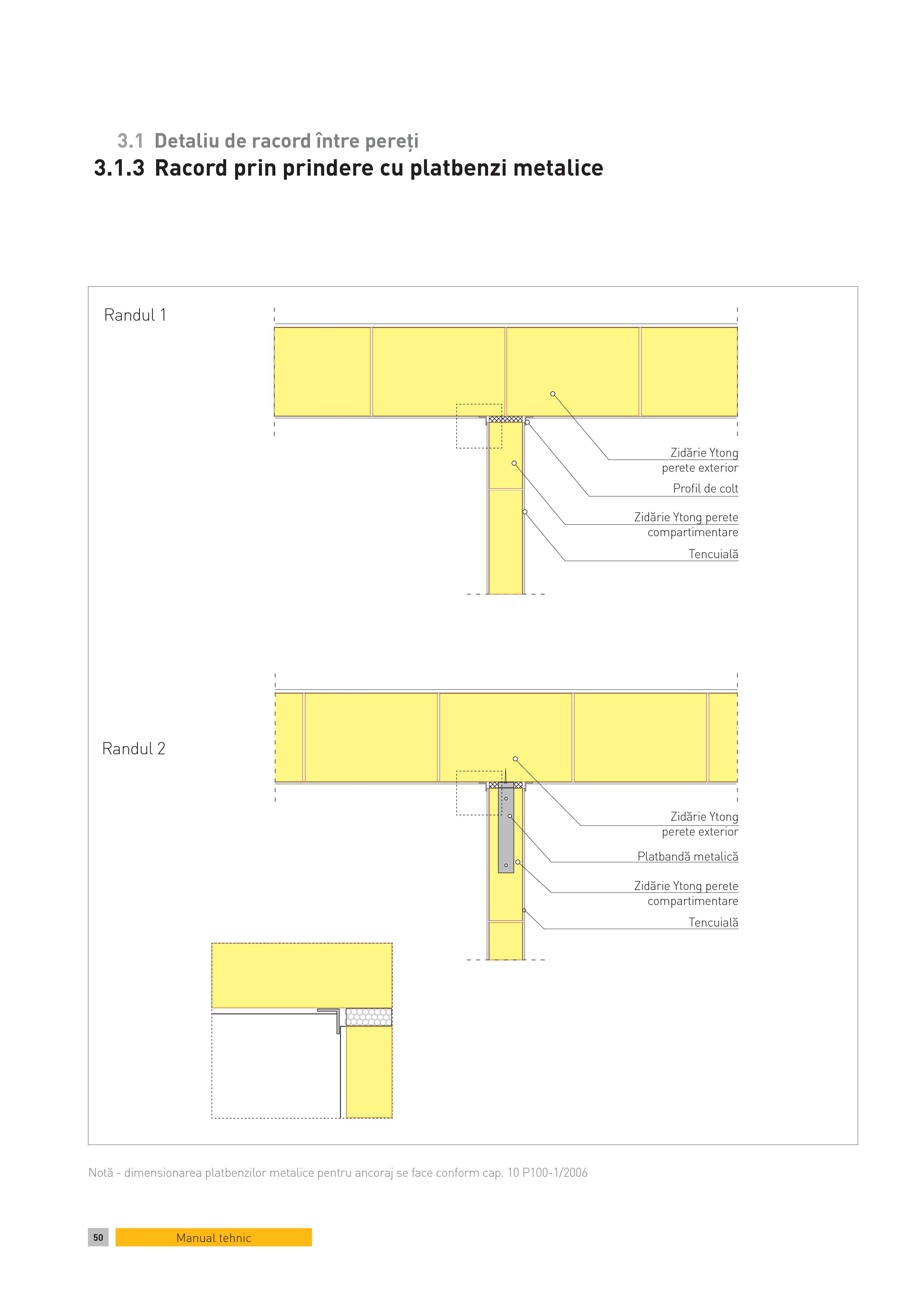 Pagina 1 - CAD-PDF Detaliu de racord intre pereti. Racord prin prindere cu platbenzi metalice YTONG ...