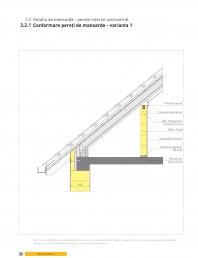 Detaliu de mansarda - perete interior perimetral. Conformare pereti de mansarde - varianta 1