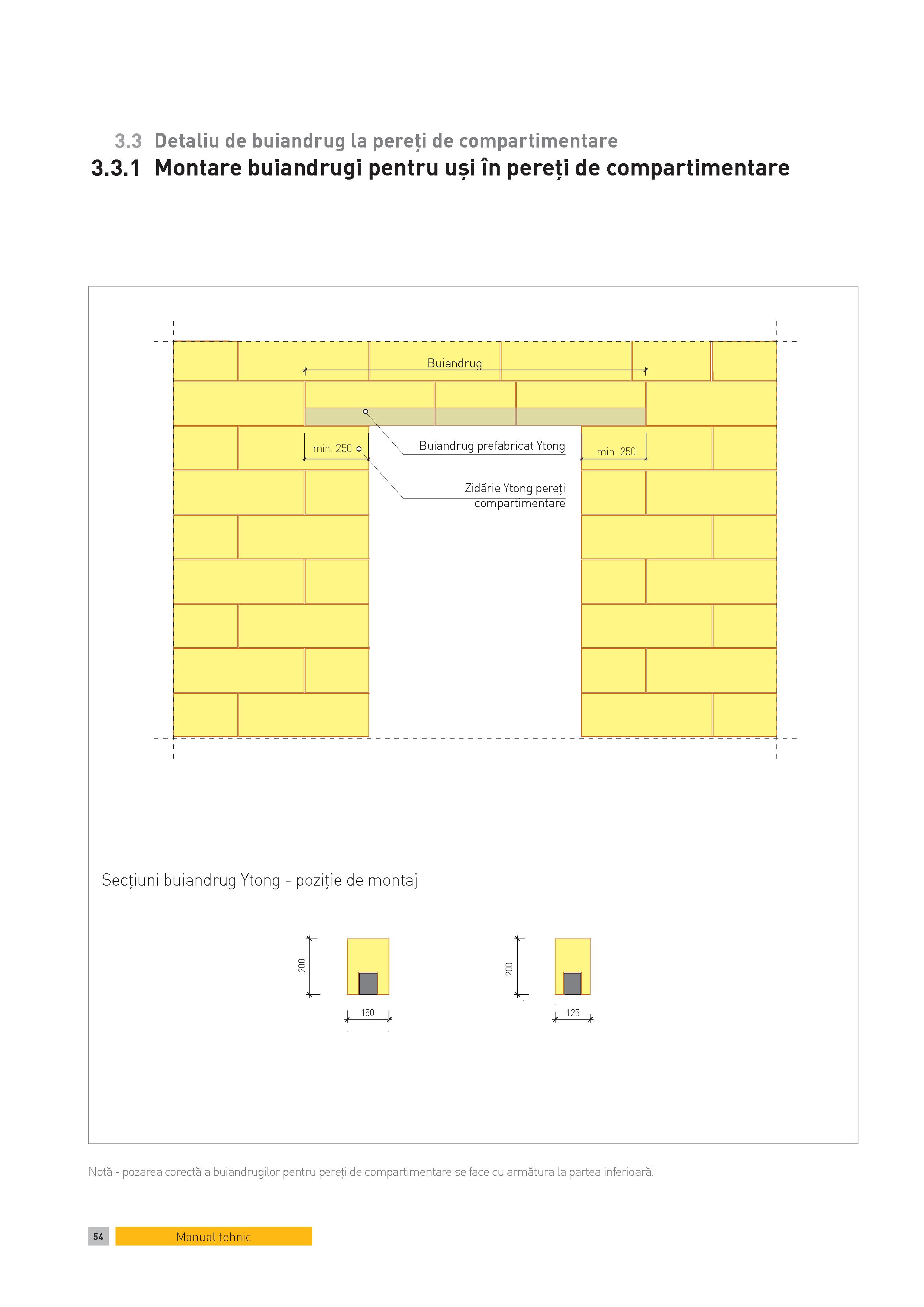 Pagina 1 - CAD-PDF Detaliu de buiandrug la pereti de compartimentare. Montare buiandrugi pentru usi ...