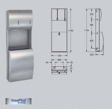 Combinatie cos de gunoi-dispenser de prosoape de hartie dozator de sapun, cu montaj ingropat FRANKE - Poza 2