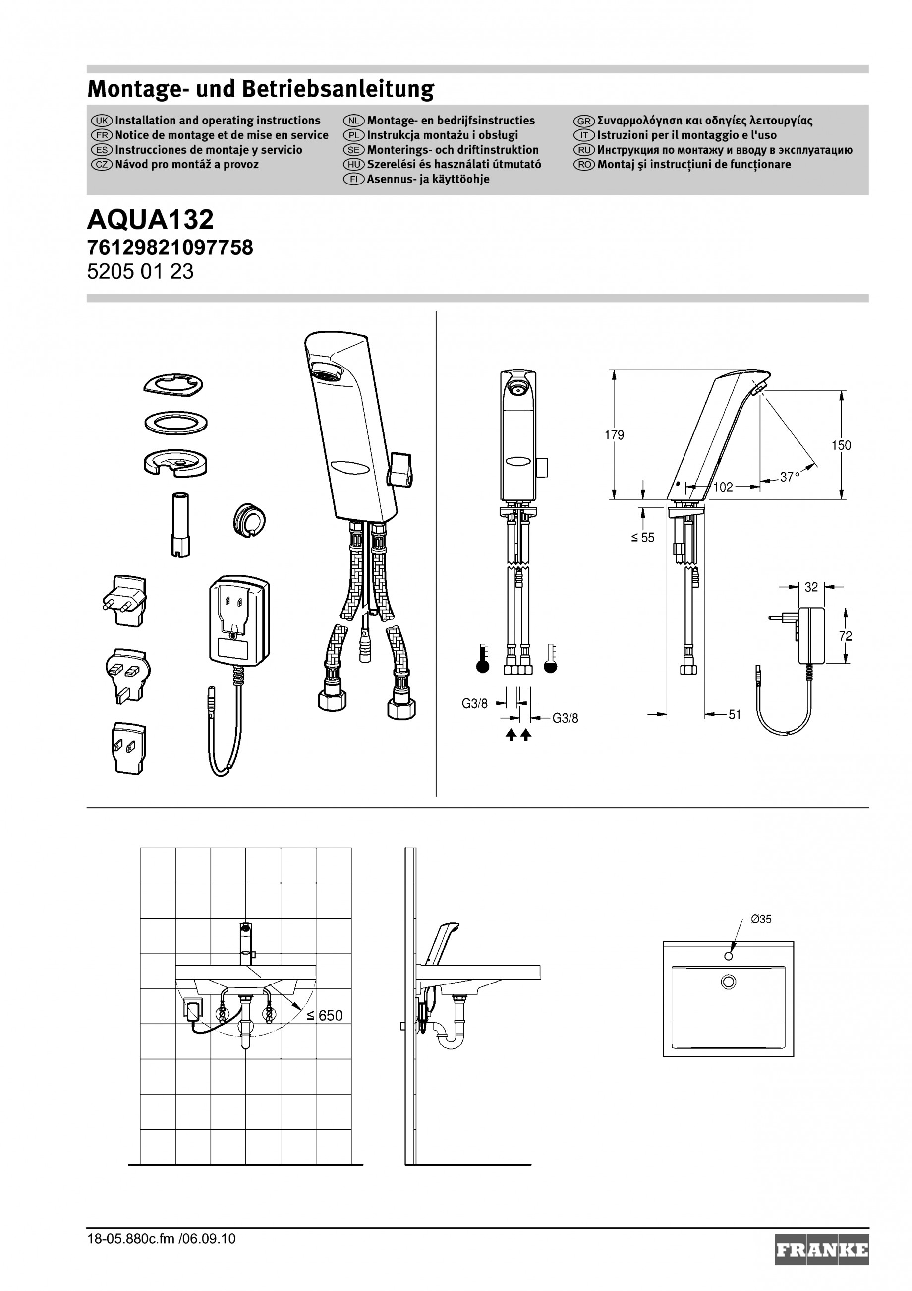 instructiuni montaj utilizare baterii baie electronice protronic s aqua132 franke baterii baie. Black Bedroom Furniture Sets. Home Design Ideas