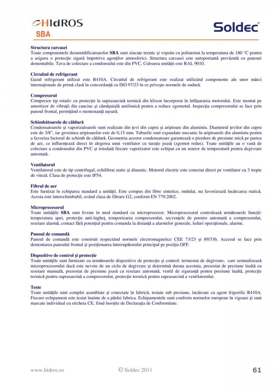 Pagina 3 - Dezumidificator pentu piscine HIDROS SBA Fisa tehnica Romana  SBA150 155,0 113,1 96,6 71,...