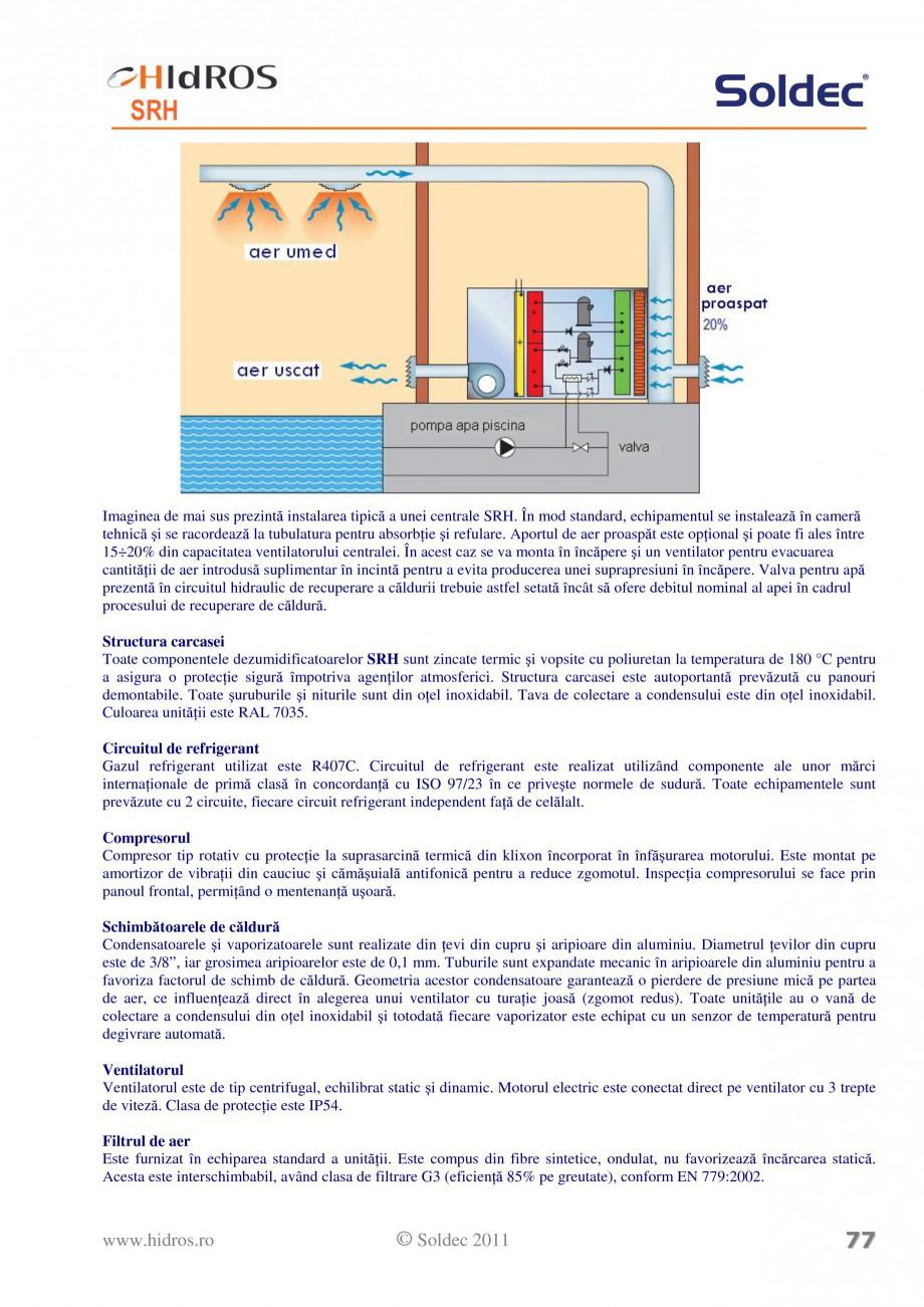 Pagina 3 - Dezumidificator pentru piscine si depozite HIDROS SRH Fisa tehnica Romana  racordarea la ...