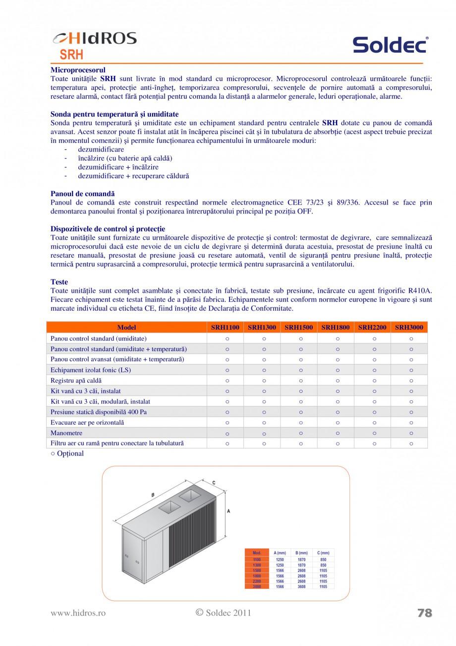 Pagina 4 - Dezumidificator pentru piscine si depozite HIDROS SRH Fisa tehnica Romana 0-36 50-99...