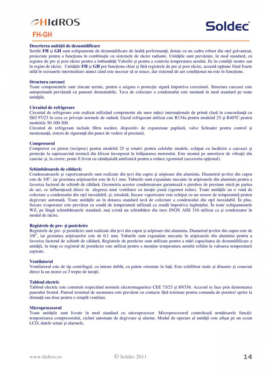 Pagina 3 - Dezumidificatoare incastrabile pentru piscine HIDROS FH GH Fisa tehnica Romana  Interval ...
