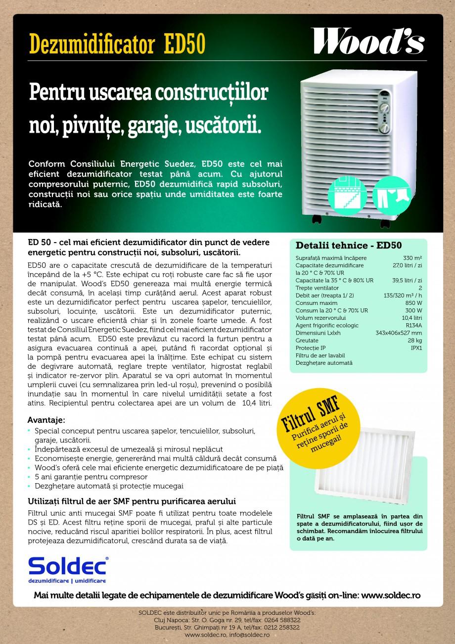 Pagina 1 - Dezumidificator profesional Wood's ED50 Fisa tehnica Romana Dezumidificator ED50...