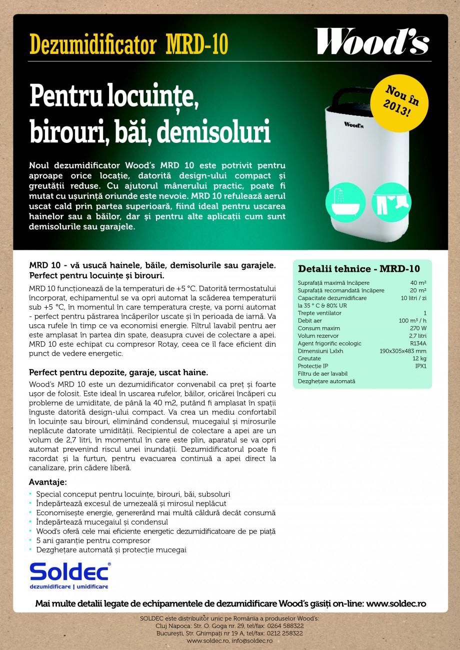 Pagina 1 - Dezumidificator profesional Wood's MRD-10 Fisa tehnica Romana Dezumidificator MRD-10...