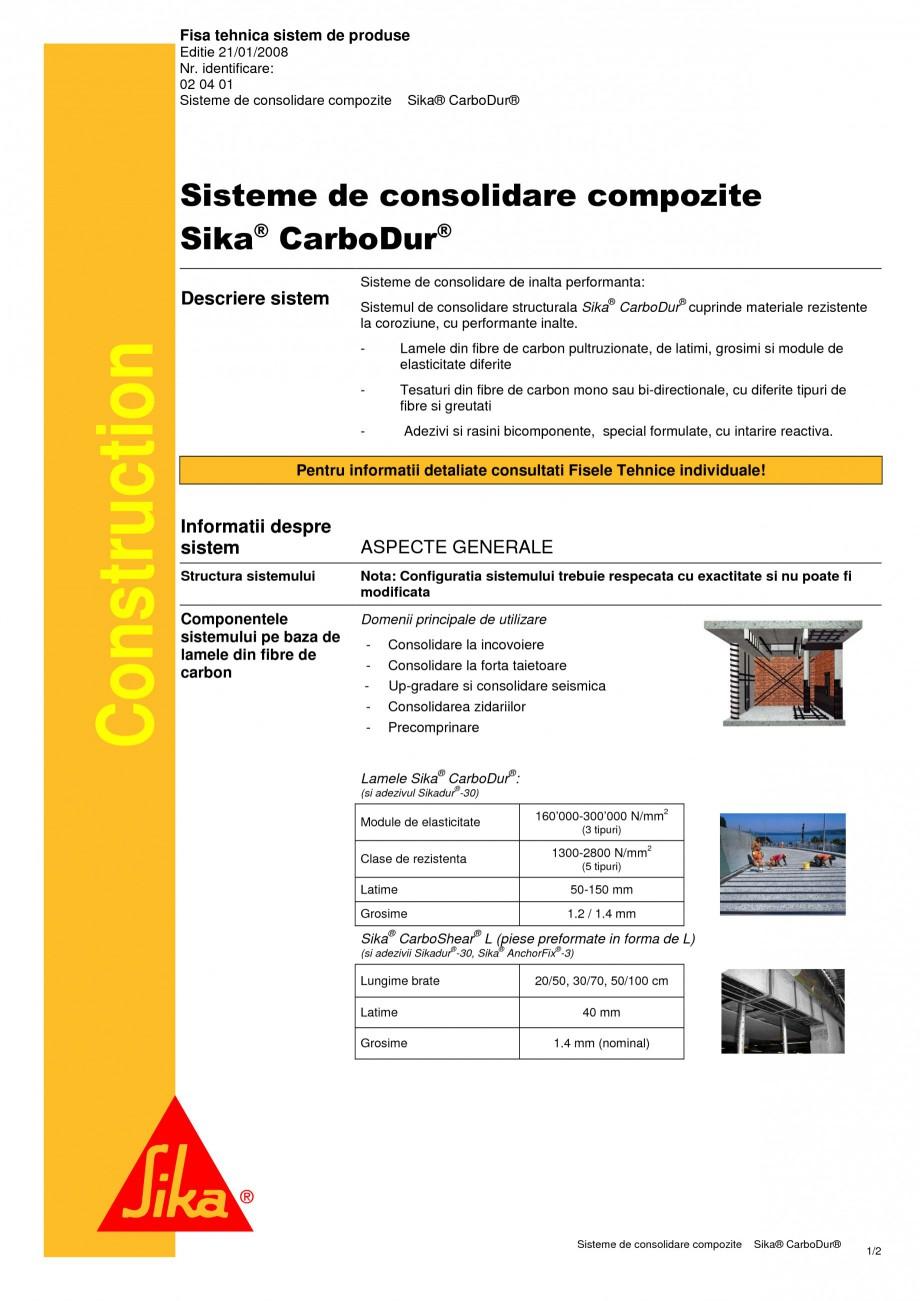 Pagina 1 - Sisteme de consolidare compozite SIKA Sika® CarboDur®, Sika® CarboShear® ...
