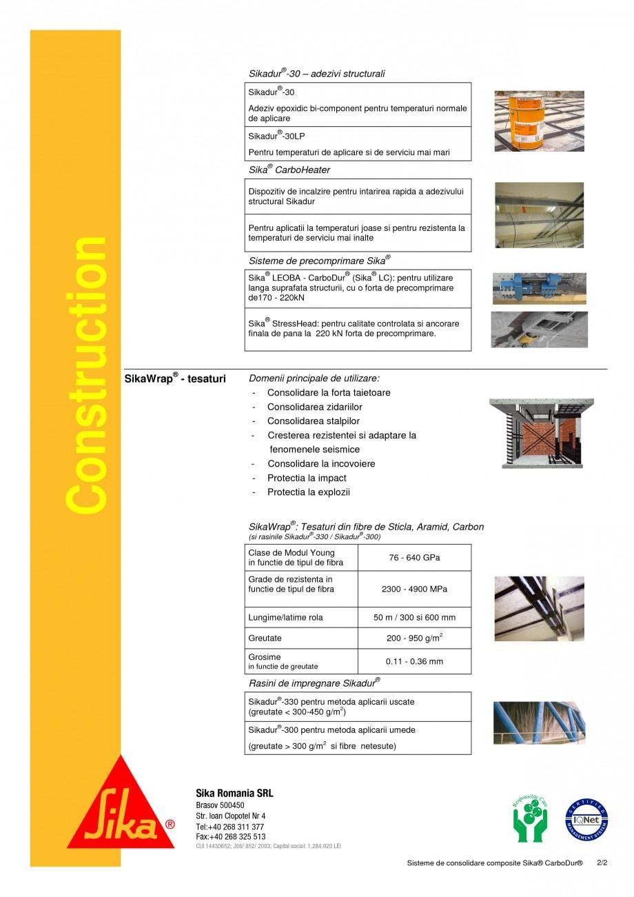 Pagina 2 - Sisteme de consolidare compozite SIKA Sika® CarboDur®, Sika® CarboShear® ...