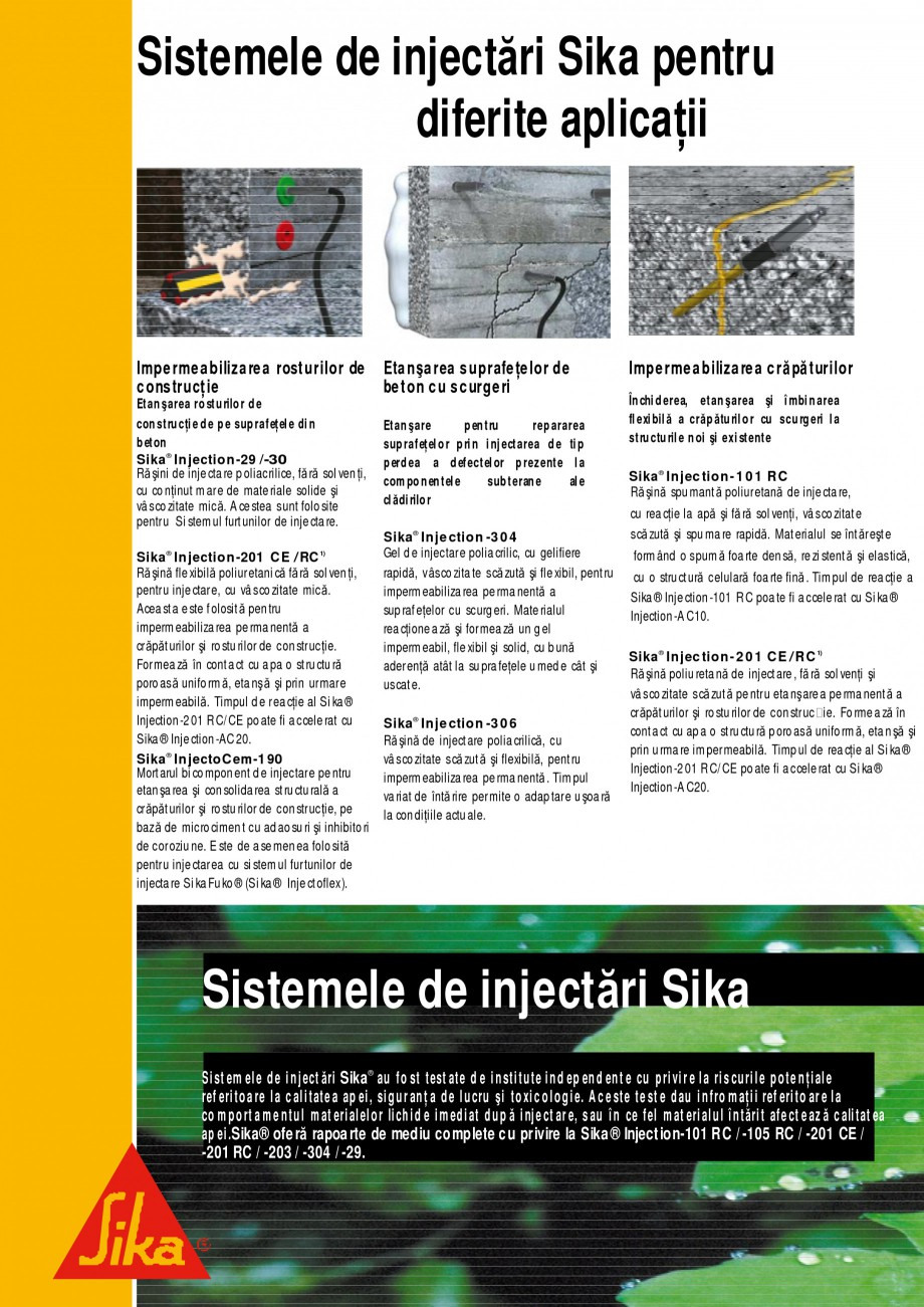 Pagina 6 - Sisteme de injectari Sika pentru structuri de beton SIKA Catalog, brosura Romana ka®...