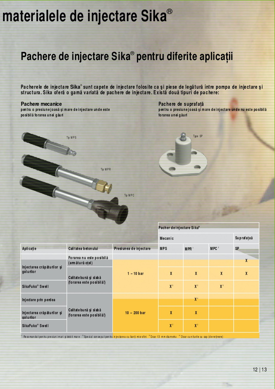 Pagina 13 - Sisteme de injectari Sika pentru structuri de beton SIKA Catalog, brosura Romana cŃione...