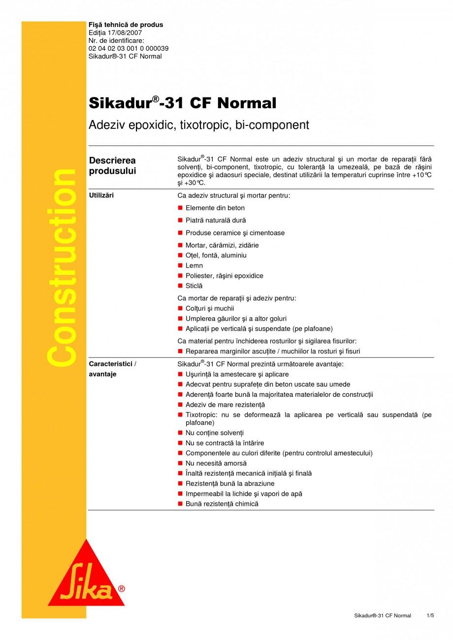 Pagina 1 - Adeziv epoxidic, tixotropic, bi-component SIKA Sikadur®-31 CF Normal Fisa tehnica...