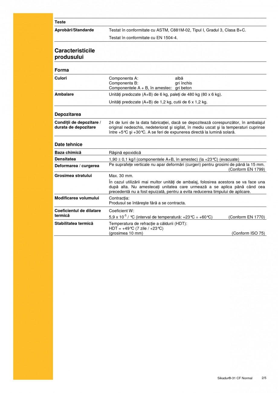 Pagina 2 - Adeziv epoxidic, tixotropic, bi-component SIKA Sikadur®-31 CF Normal Fisa tehnica...