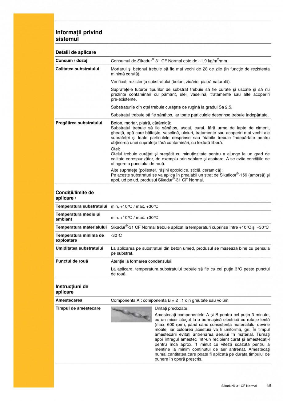 Pagina 4 - Adeziv epoxidic, tixotropic, bi-component SIKA Sikadur®-31 CF Normal Fisa tehnica...
