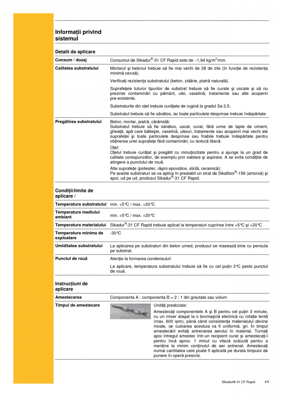 Pagina 4 - Adeziv epoxidic, tixotropic, bi-component SIKA Sikadur®-31 CF Rapid Fisa tehnica...