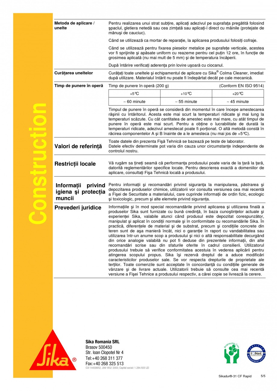 Pagina 5 - Adeziv epoxidic, tixotropic, bi-component SIKA Sikadur®-31 CF Rapid Fisa tehnica...