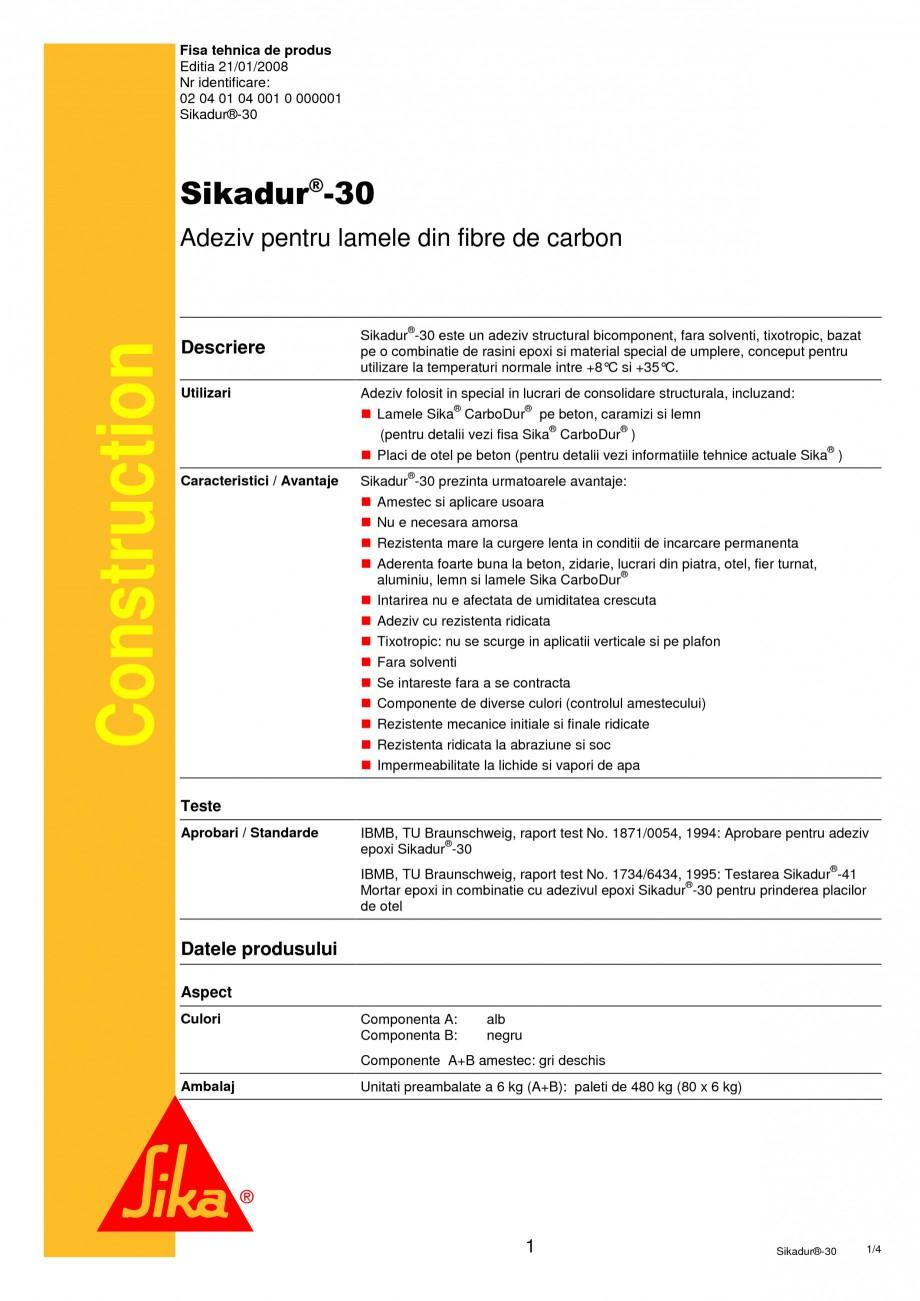 Pagina 1 - Adeziv pentru lamele din fibre de carbon SIKA Sikadur®-30 Fisa tehnica Romana Fisa...