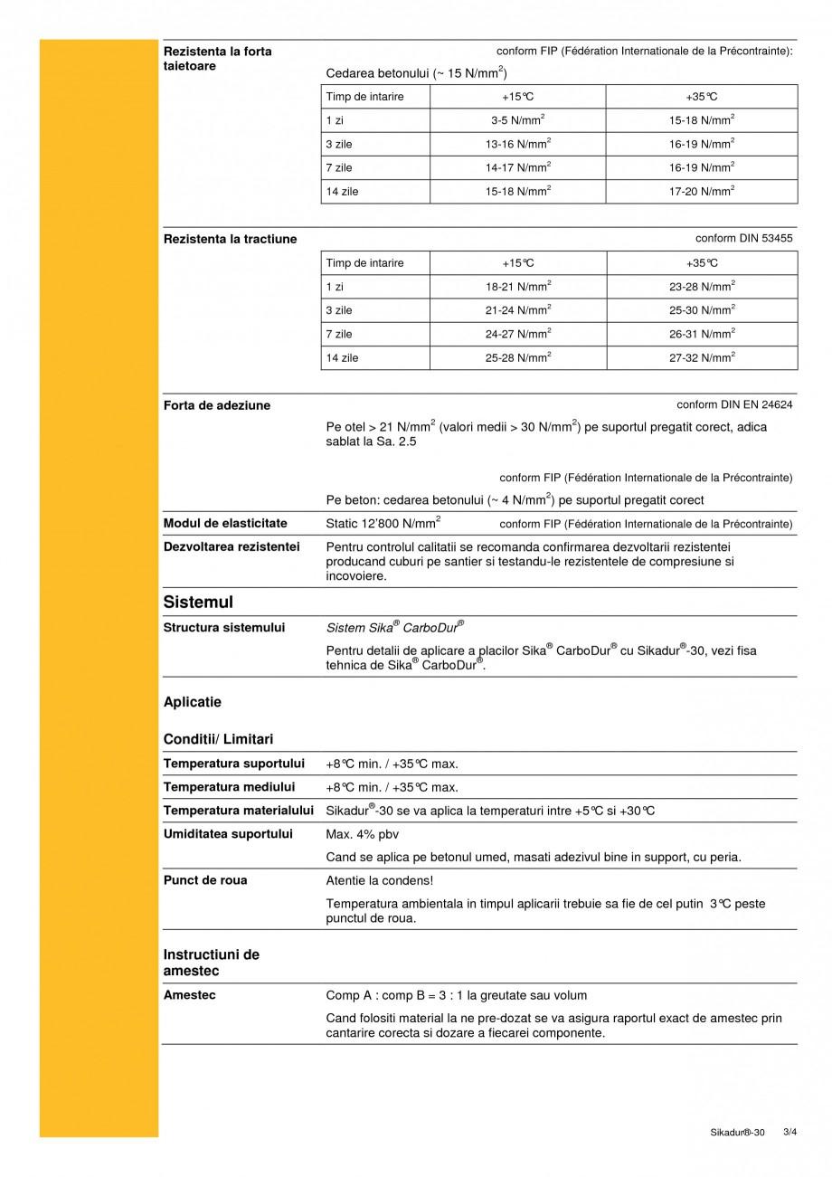 Pagina 3 - Adeziv pentru lamele din fibre de carbon SIKA Sikadur®-30 Fisa tehnica Romana ...