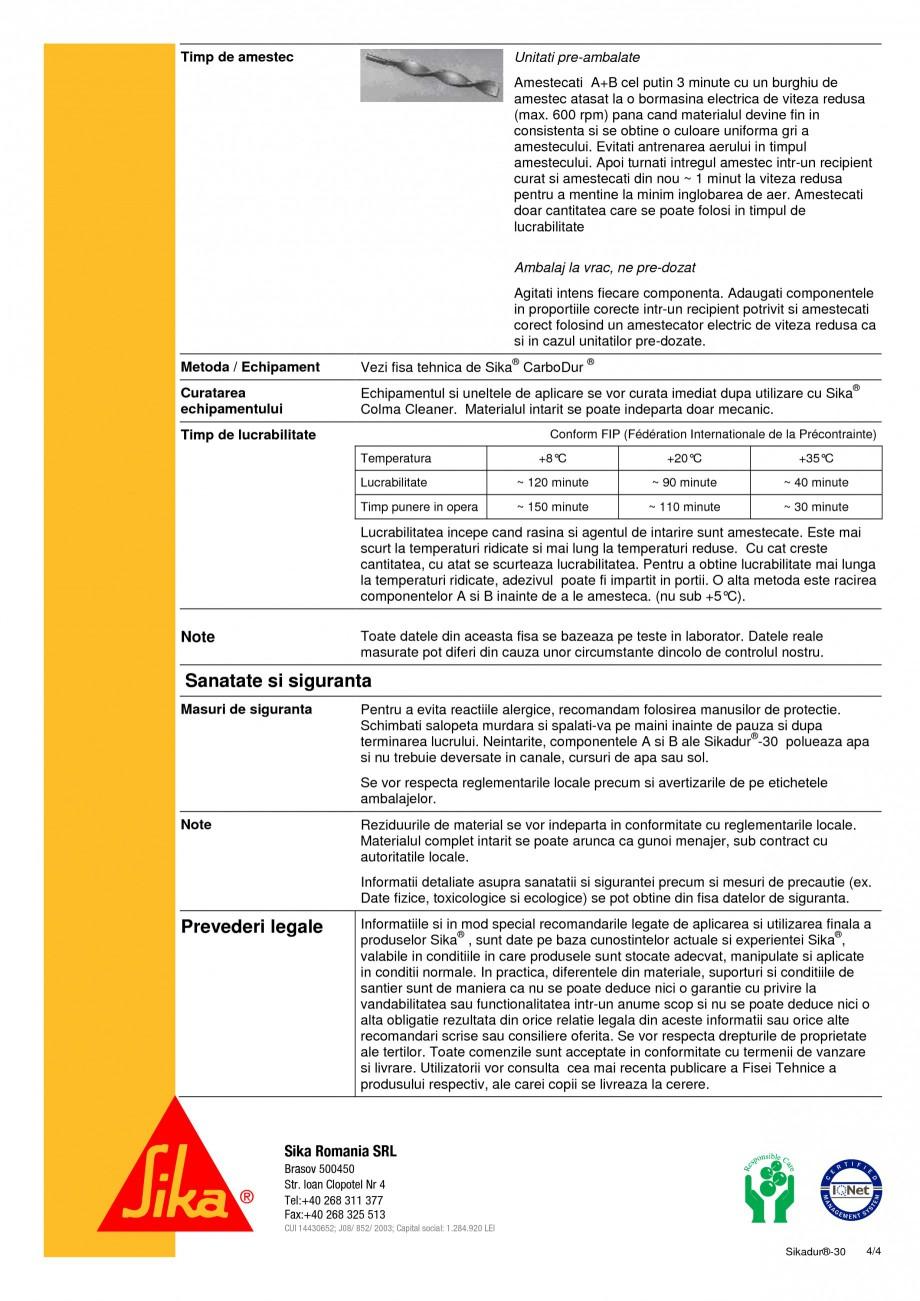 Pagina 4 - Adeziv pentru lamele din fibre de carbon SIKA Sikadur®-30 Fisa tehnica Romana to...
