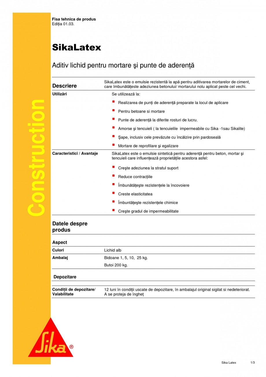 Pagina 1 - Aditiv lichid pentru mortare si punte de aderenta SIKA SikaLatex® Fisa tehnica Romana...
