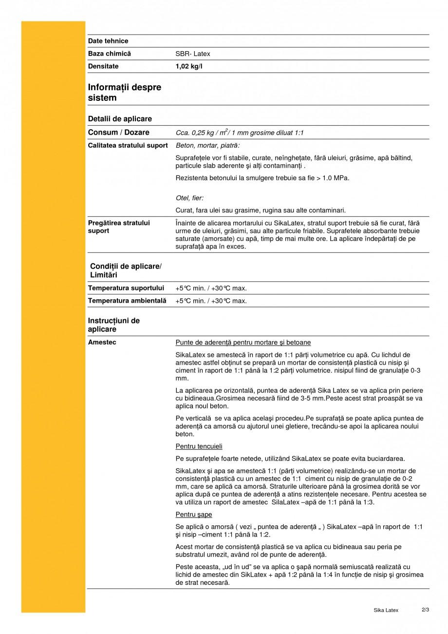 Pagina 2 - Aditiv lichid pentru mortare si punte de aderenta SIKA SikaLatex® Fisa tehnica Romana...