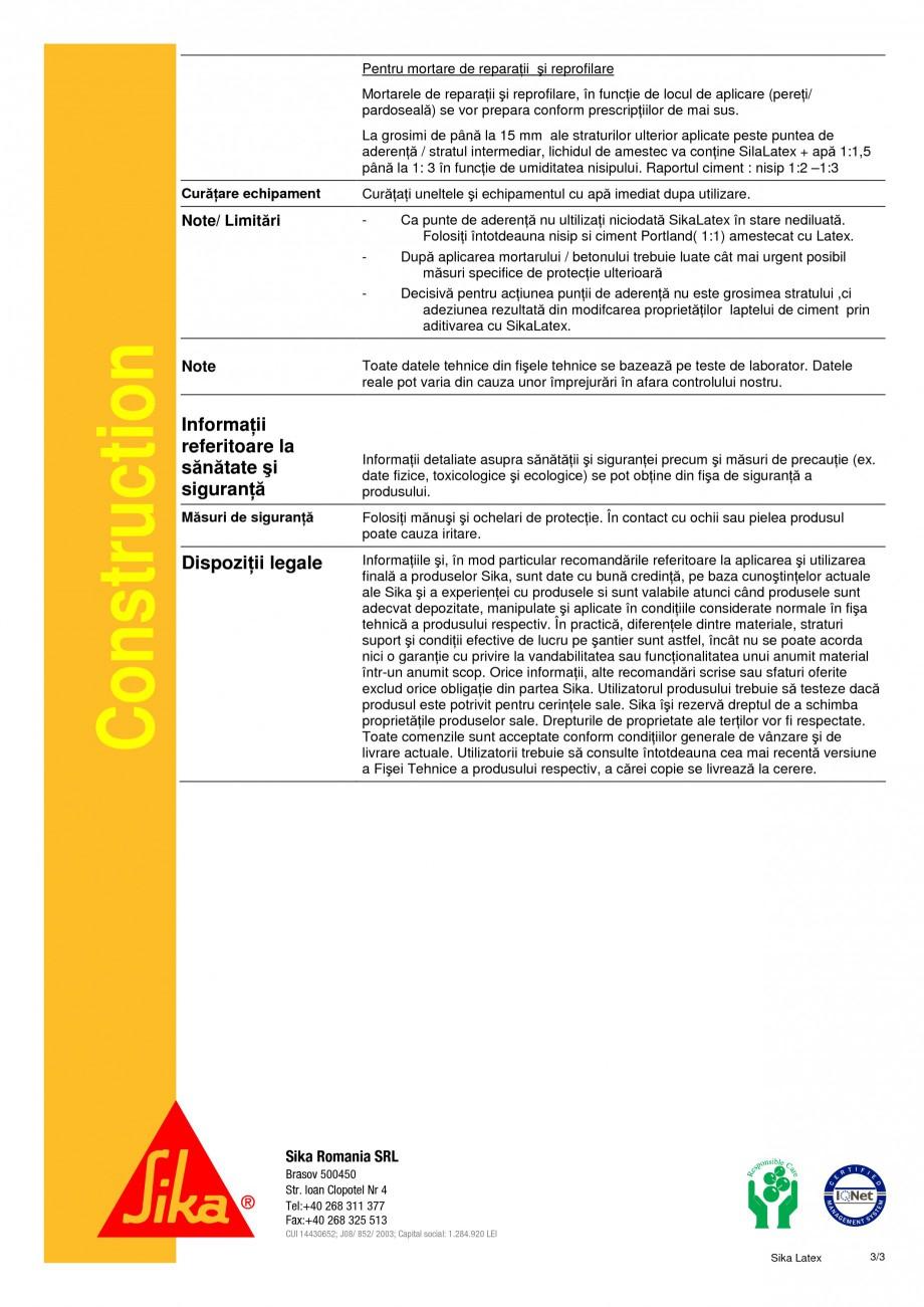 Pagina 3 - Aditiv lichid pentru mortare si punte de aderenta SIKA SikaLatex® Fisa tehnica Romana...