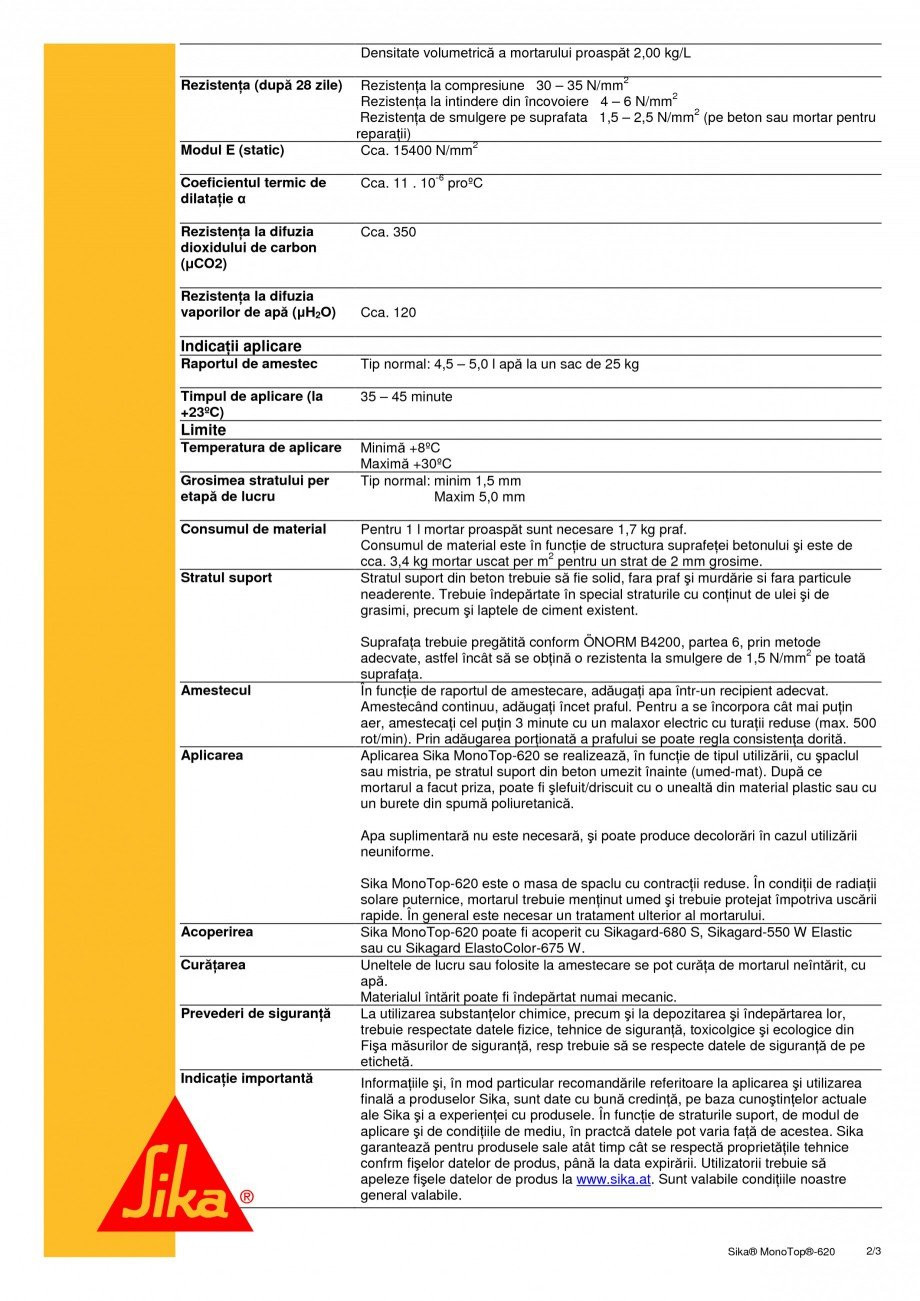 Pagina 2 - Masa de spaclu pentru inchiderea porilor SIKA Sika®MonoTop®-620 Fisa tehnica...