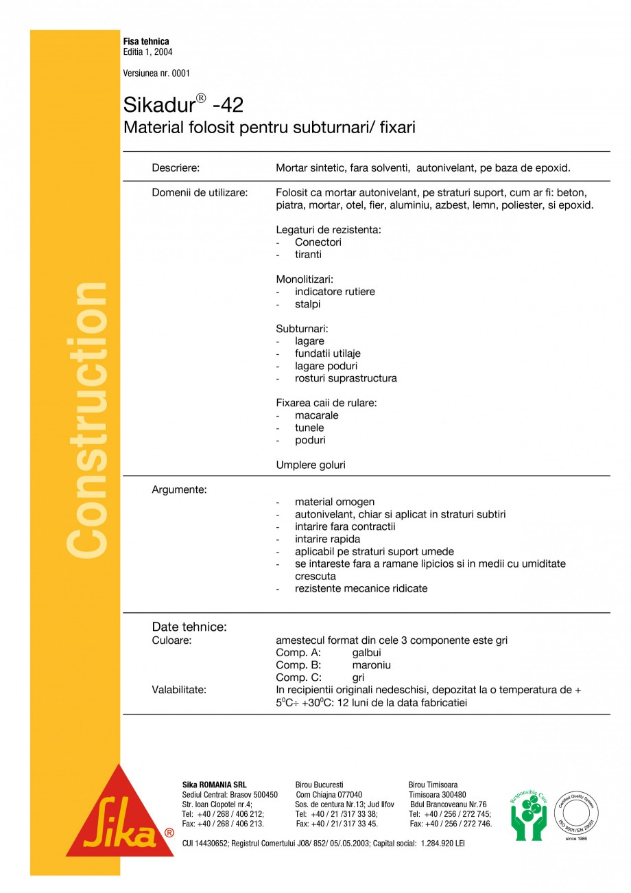 Pagina 1 - Material pentru subturnari si fixari SIKA Sikadur®-42 Fisa tehnica Romana Fisa...