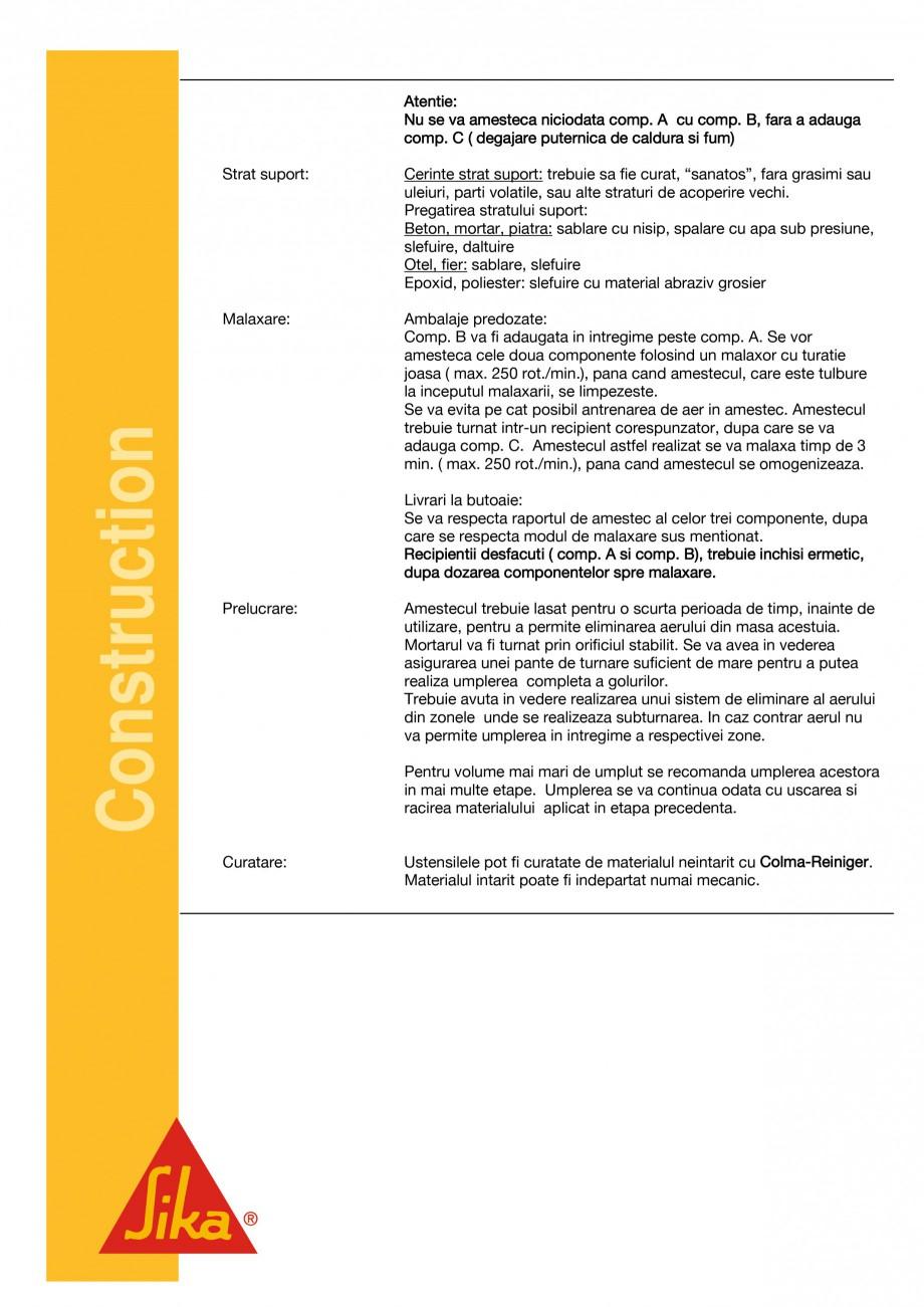 Pagina 3 - Material pentru subturnari si fixari SIKA Sikadur®-42 Fisa tehnica Romana e la + 50C ...