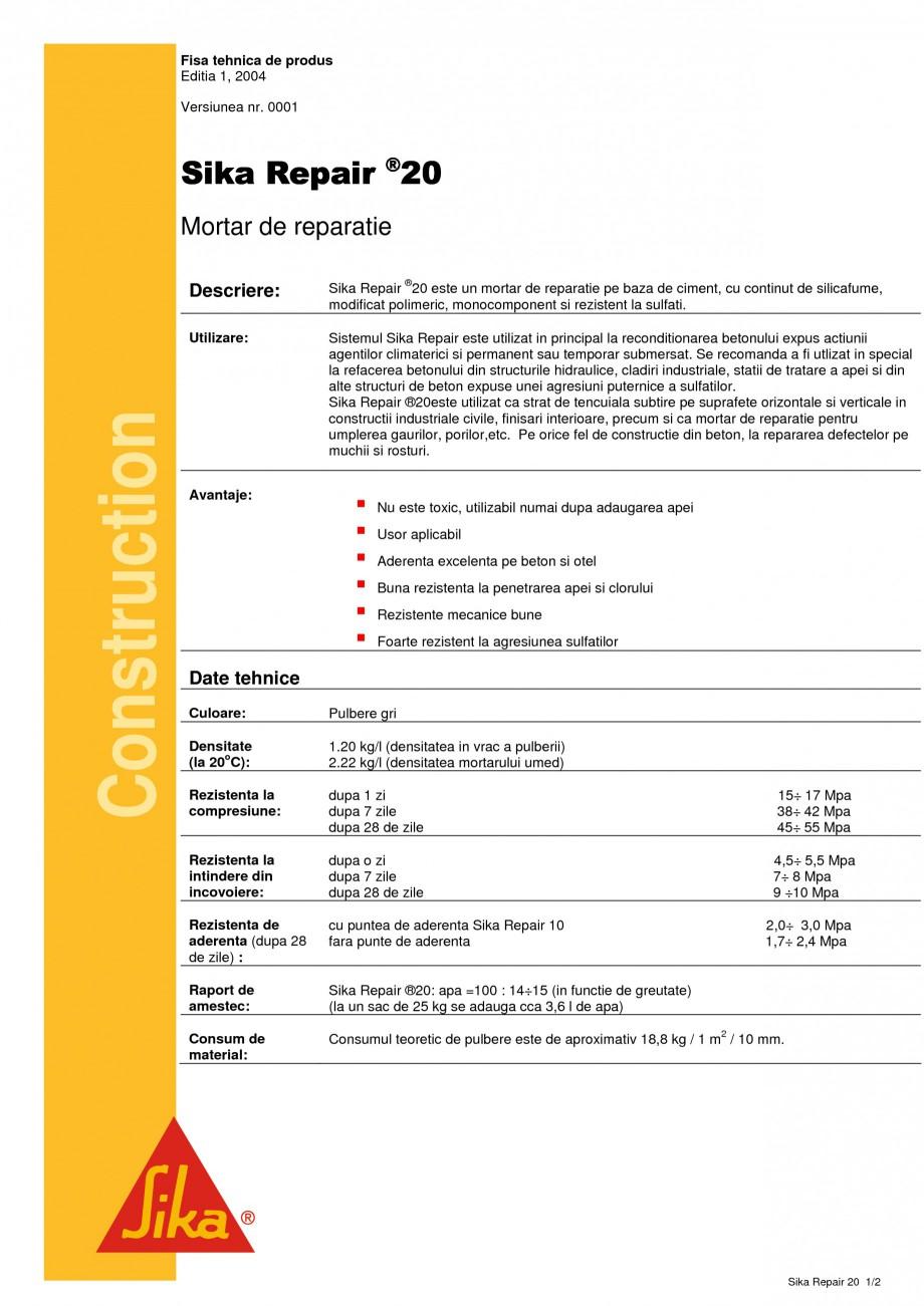 Pagina 1 - Mortar de reparatie SIKA Sika Repair® 20 Fisa tehnica Romana Fisa tehnica de produs...