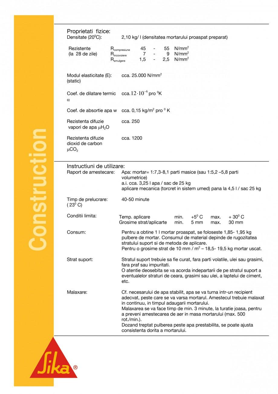 Pagina 2 - Mortar de reparatii si reprofilari SIKA Sika®MonoTop®-612 Fisa tehnica Romana t...